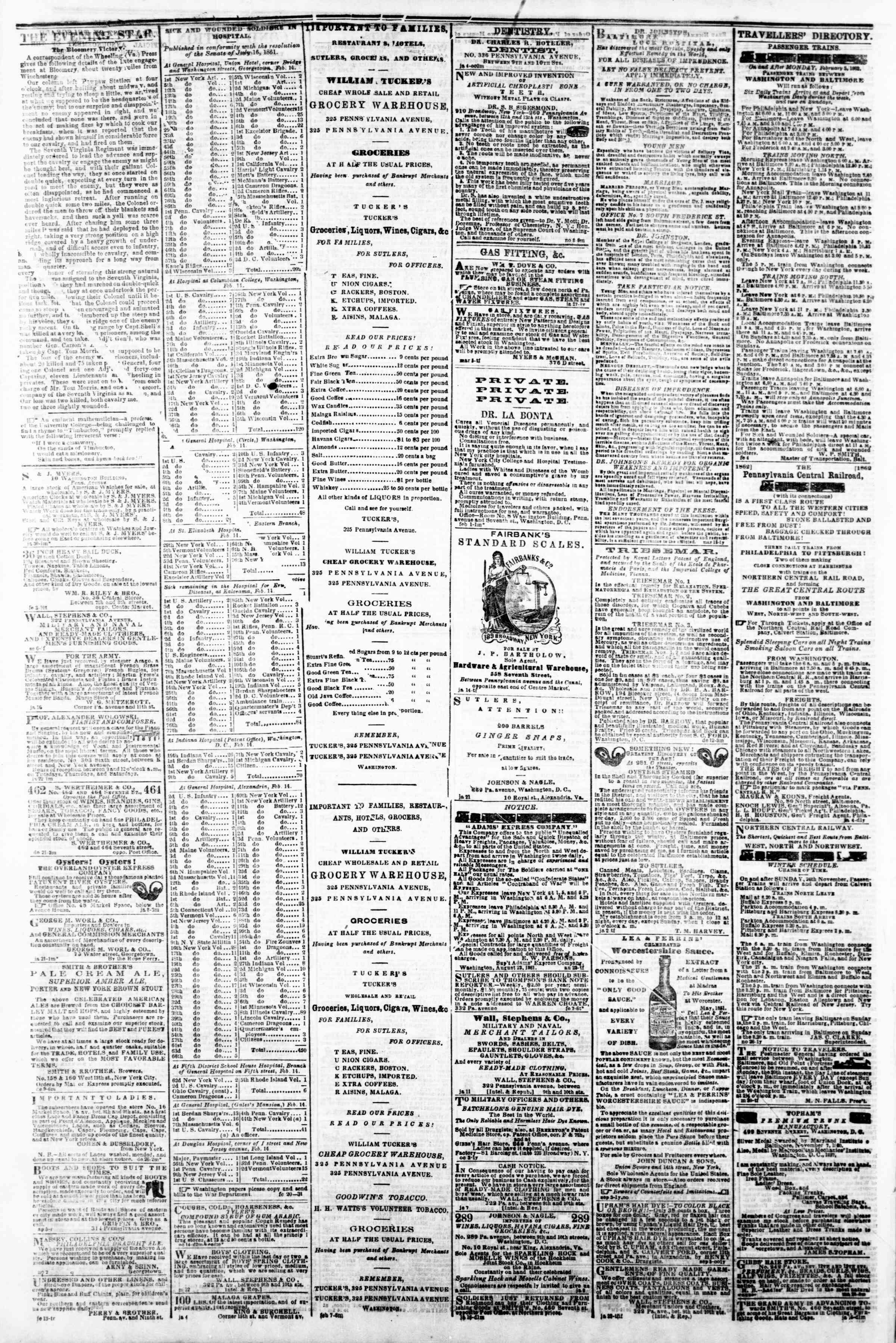 Newspaper of Evening Star dated February 22, 1862 Page 4