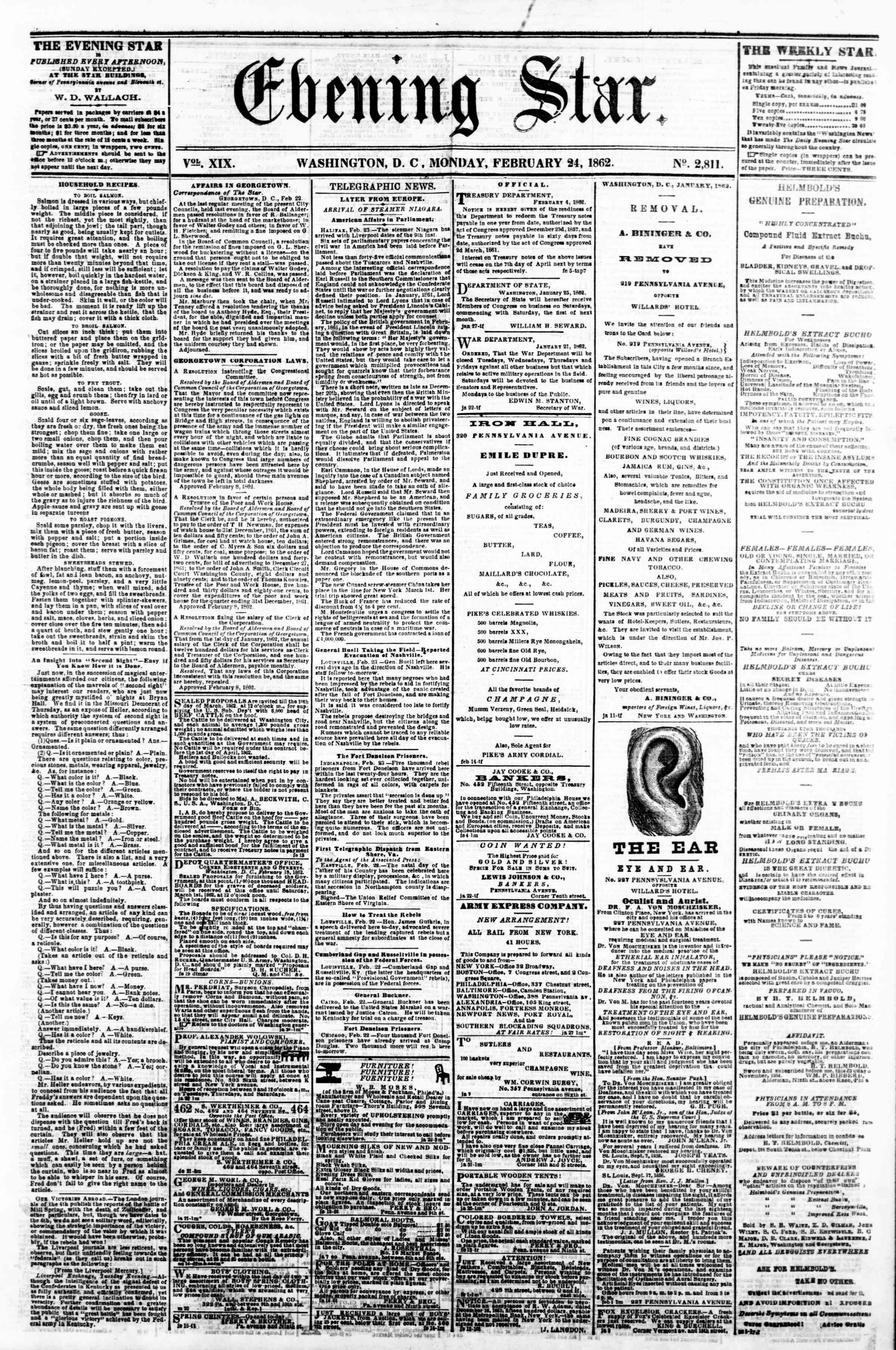 Newspaper of Evening Star dated February 24, 1862 Page 1