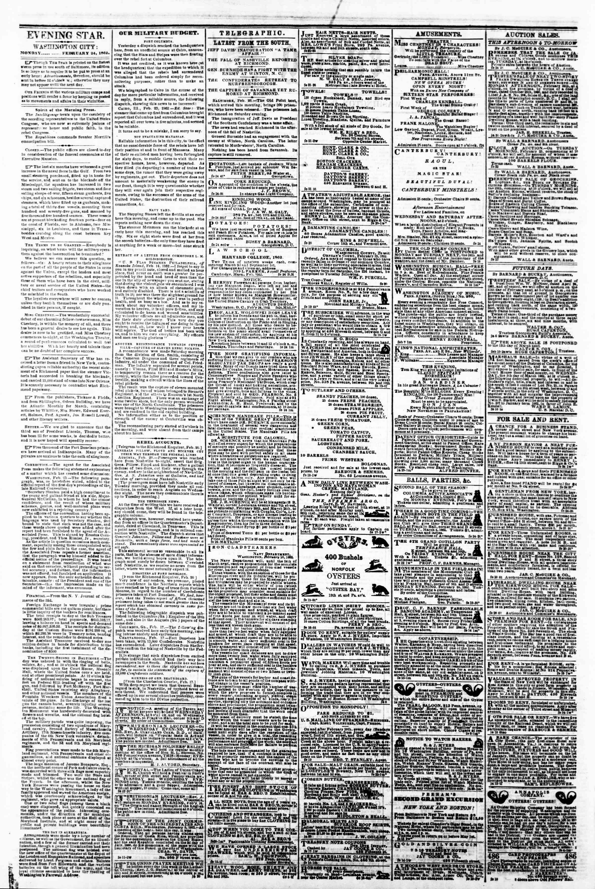 Newspaper of Evening Star dated February 24, 1862 Page 2