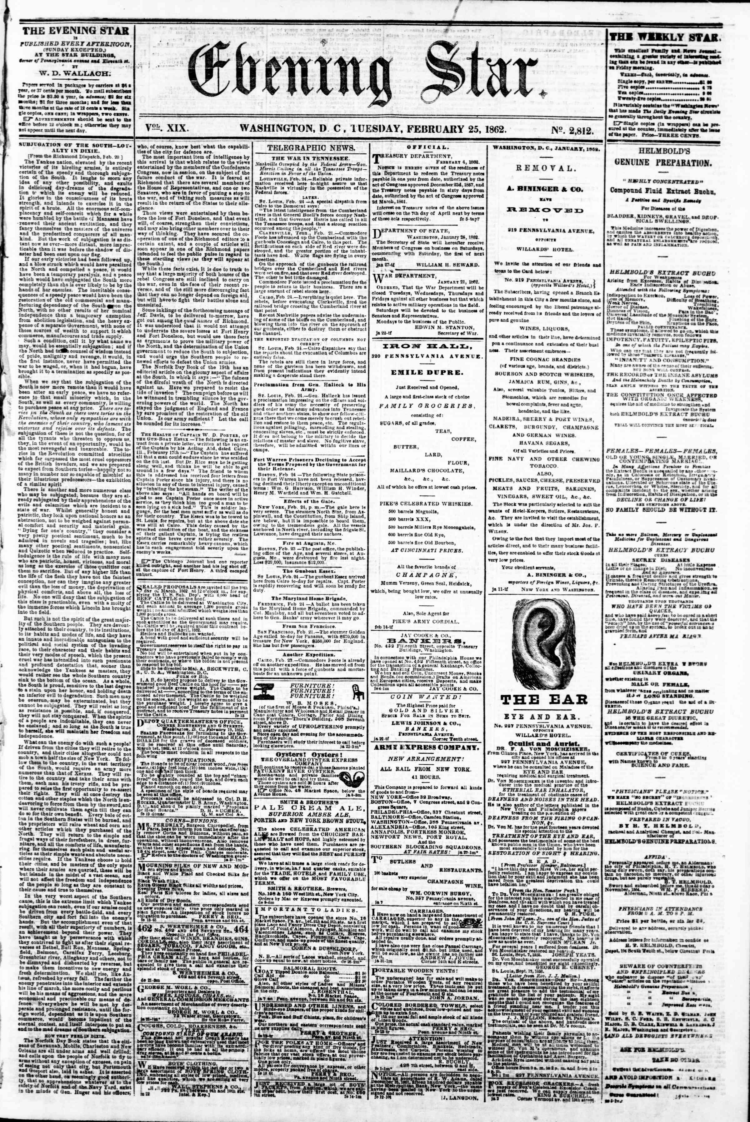 Newspaper of Evening Star dated February 25, 1862 Page 1