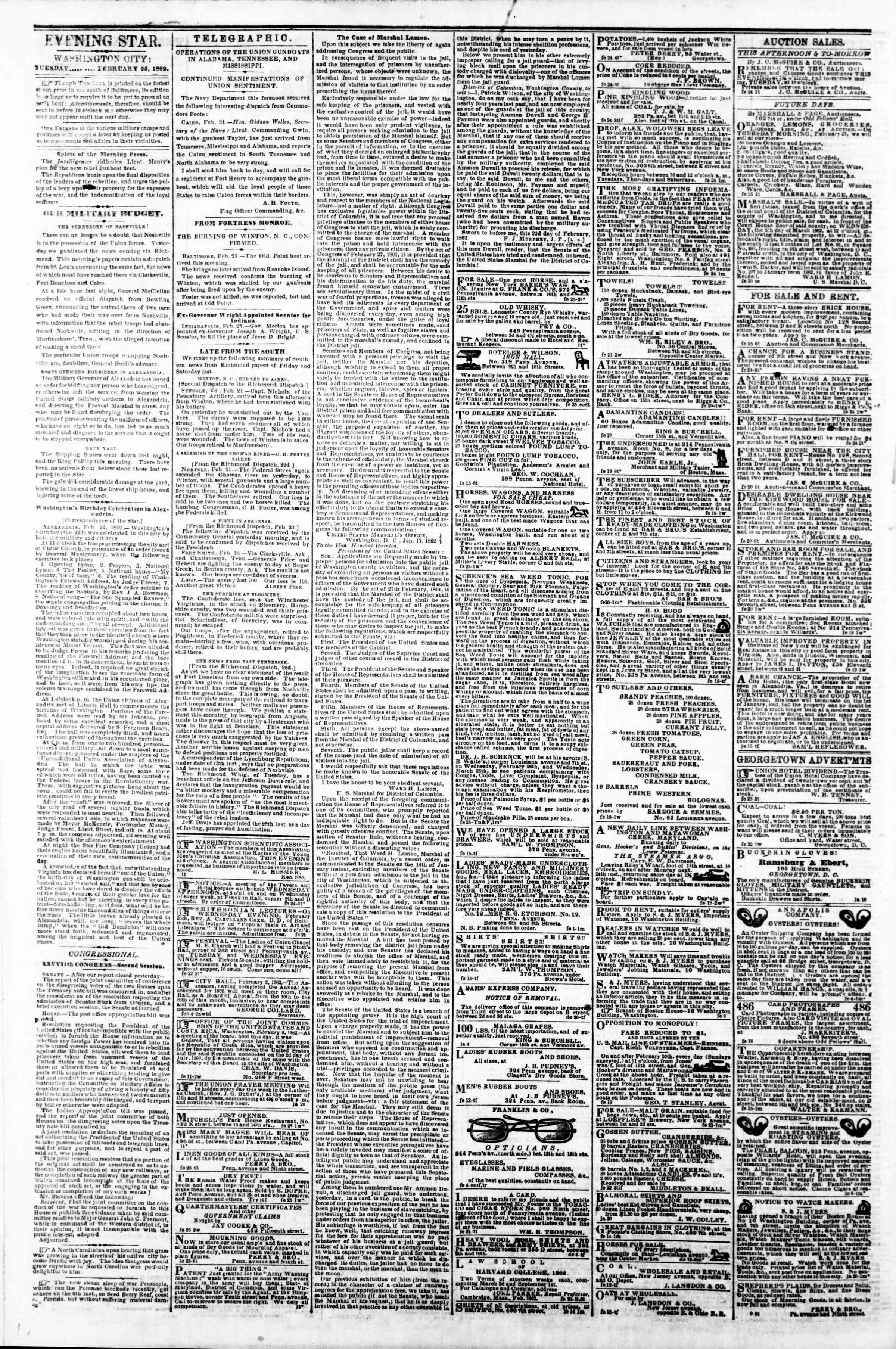 Newspaper of Evening Star dated February 25, 1862 Page 2