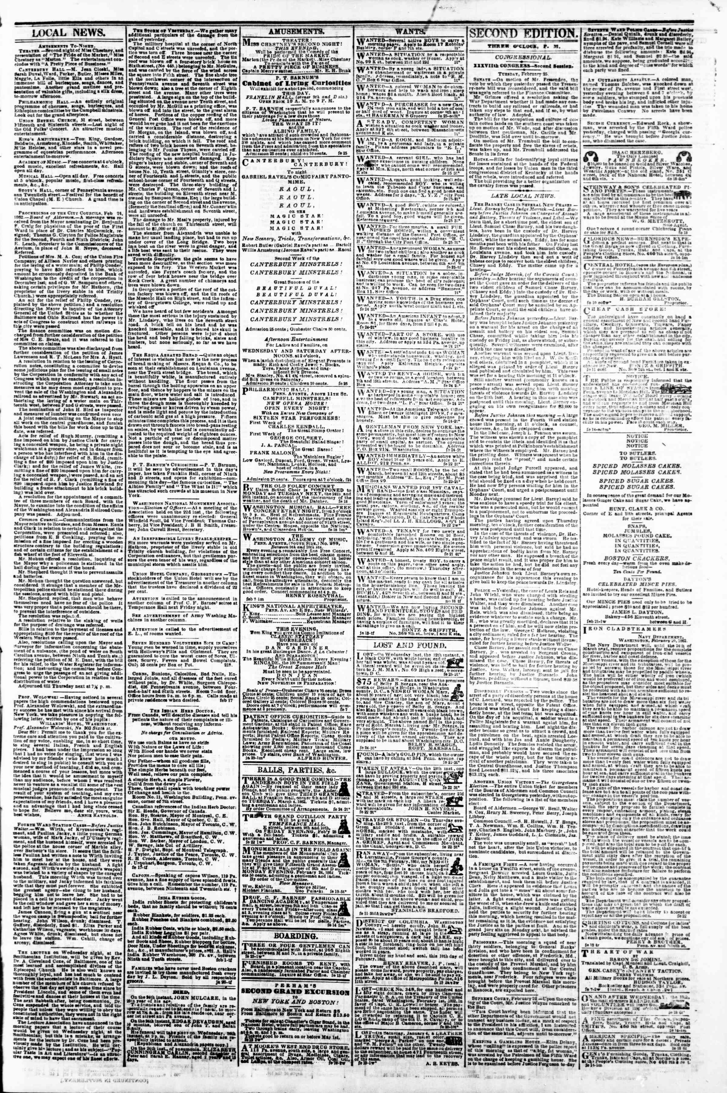 Newspaper of Evening Star dated February 25, 1862 Page 3