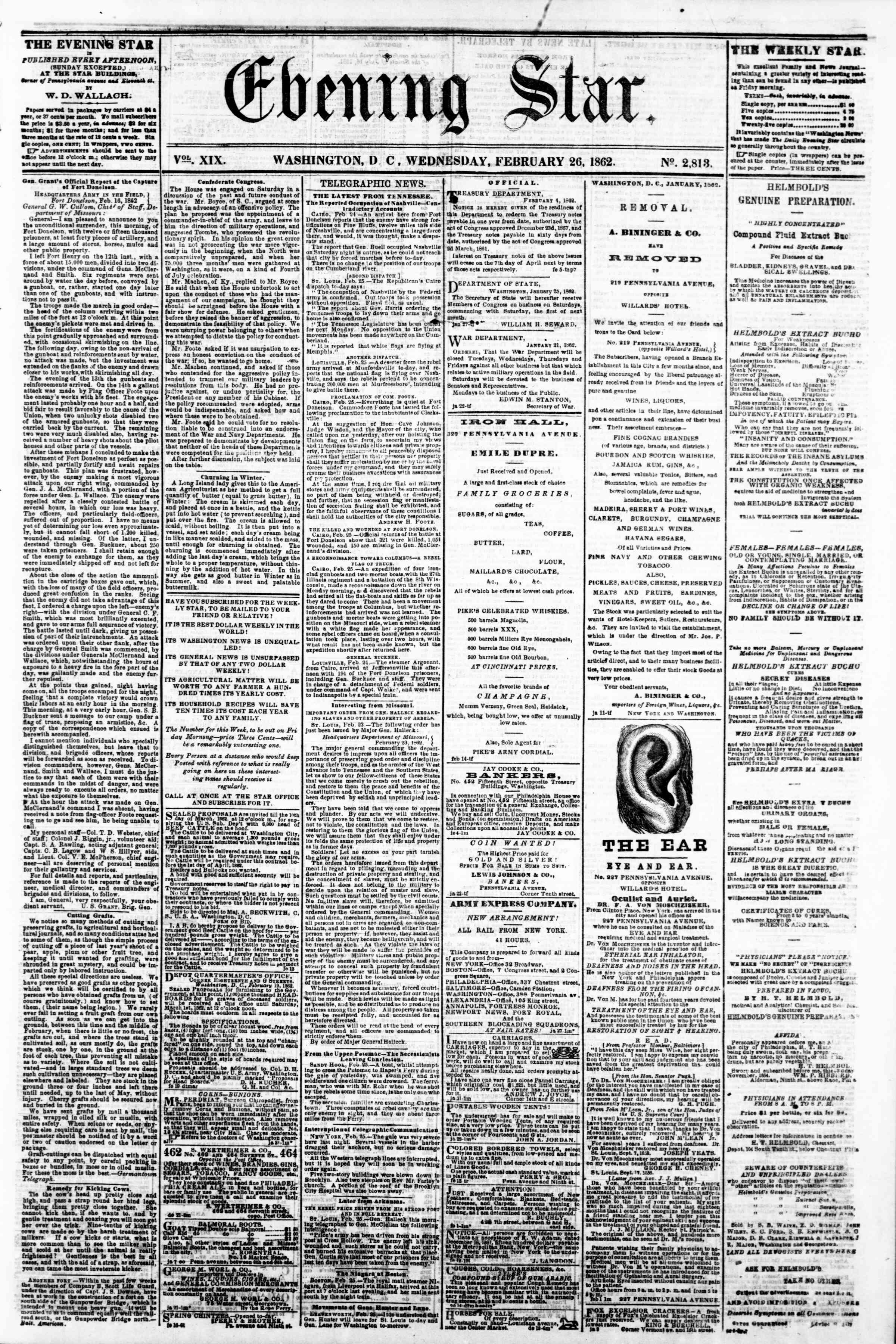 Newspaper of Evening Star dated February 26, 1862 Page 1