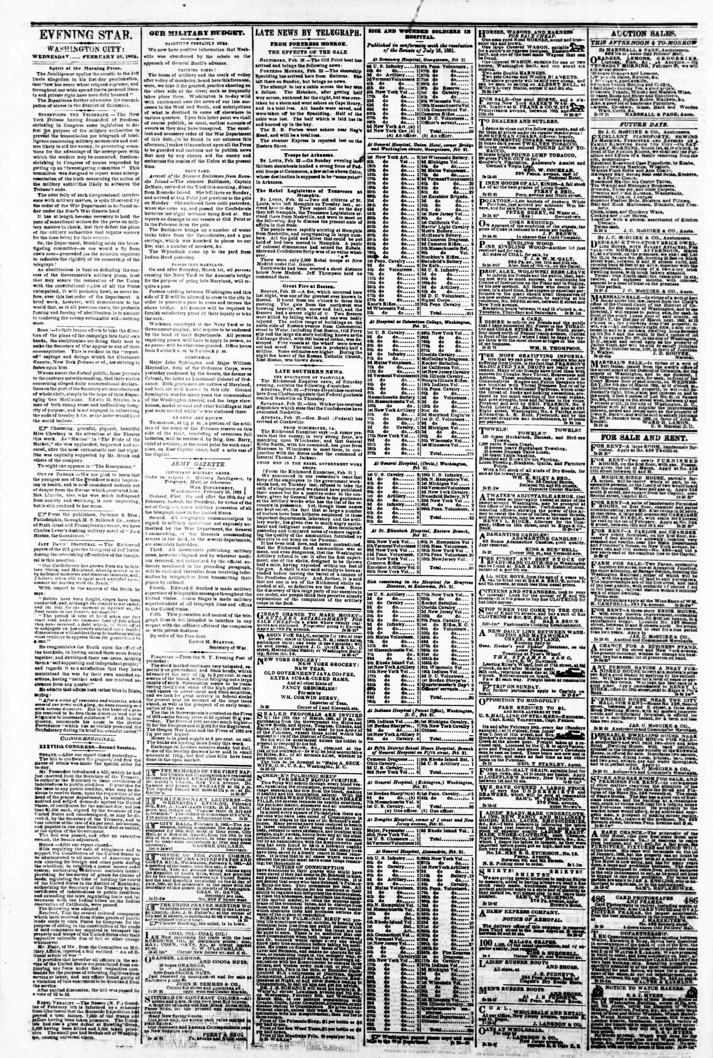 Newspaper of Evening Star dated February 26, 1862 Page 2