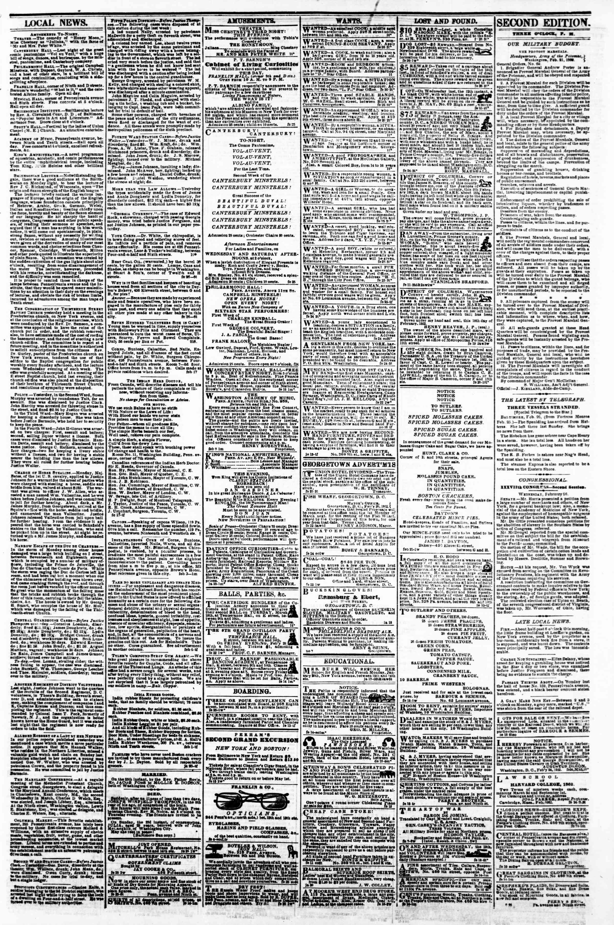 Newspaper of Evening Star dated February 26, 1862 Page 3