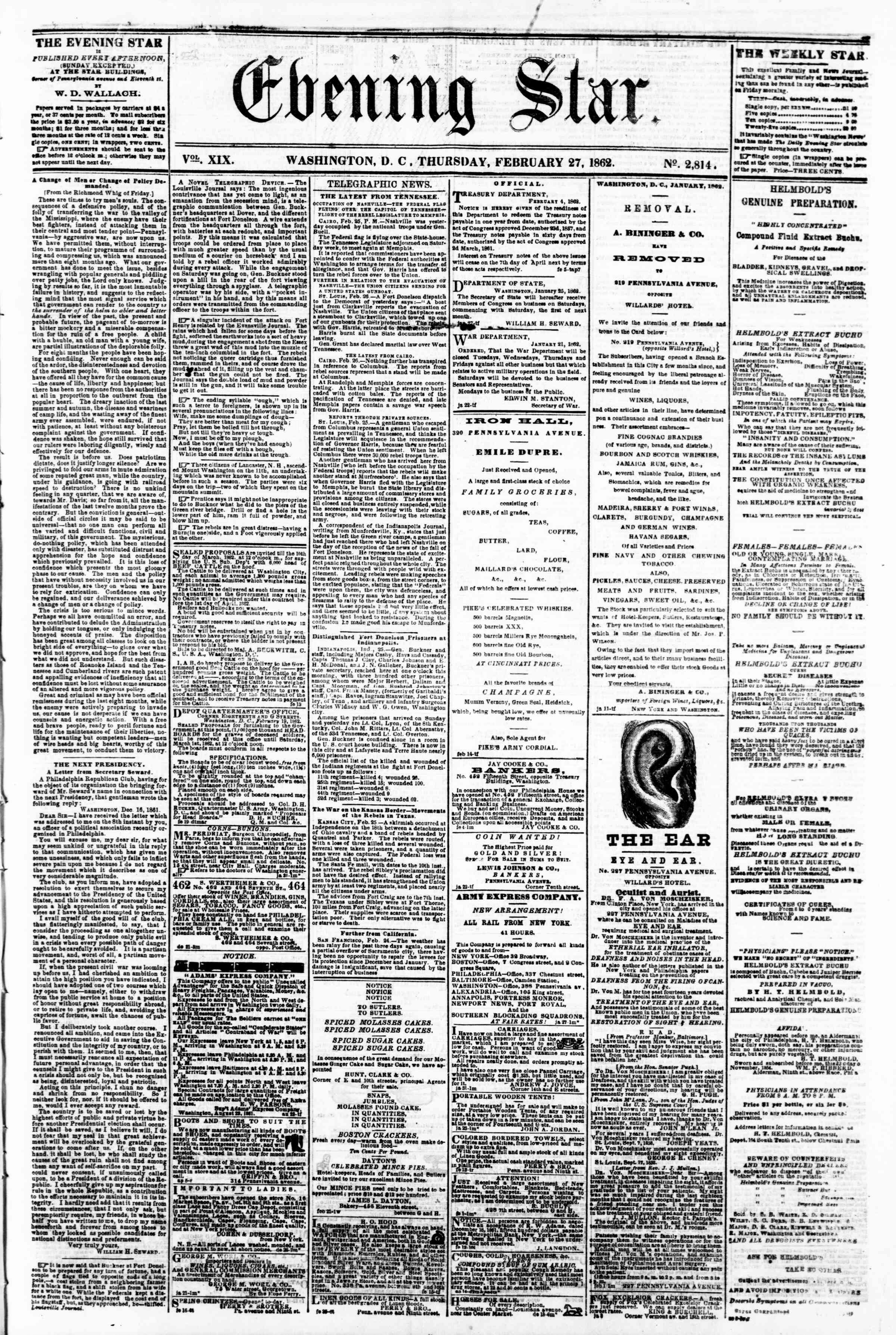 Newspaper of Evening Star dated February 27, 1862 Page 1