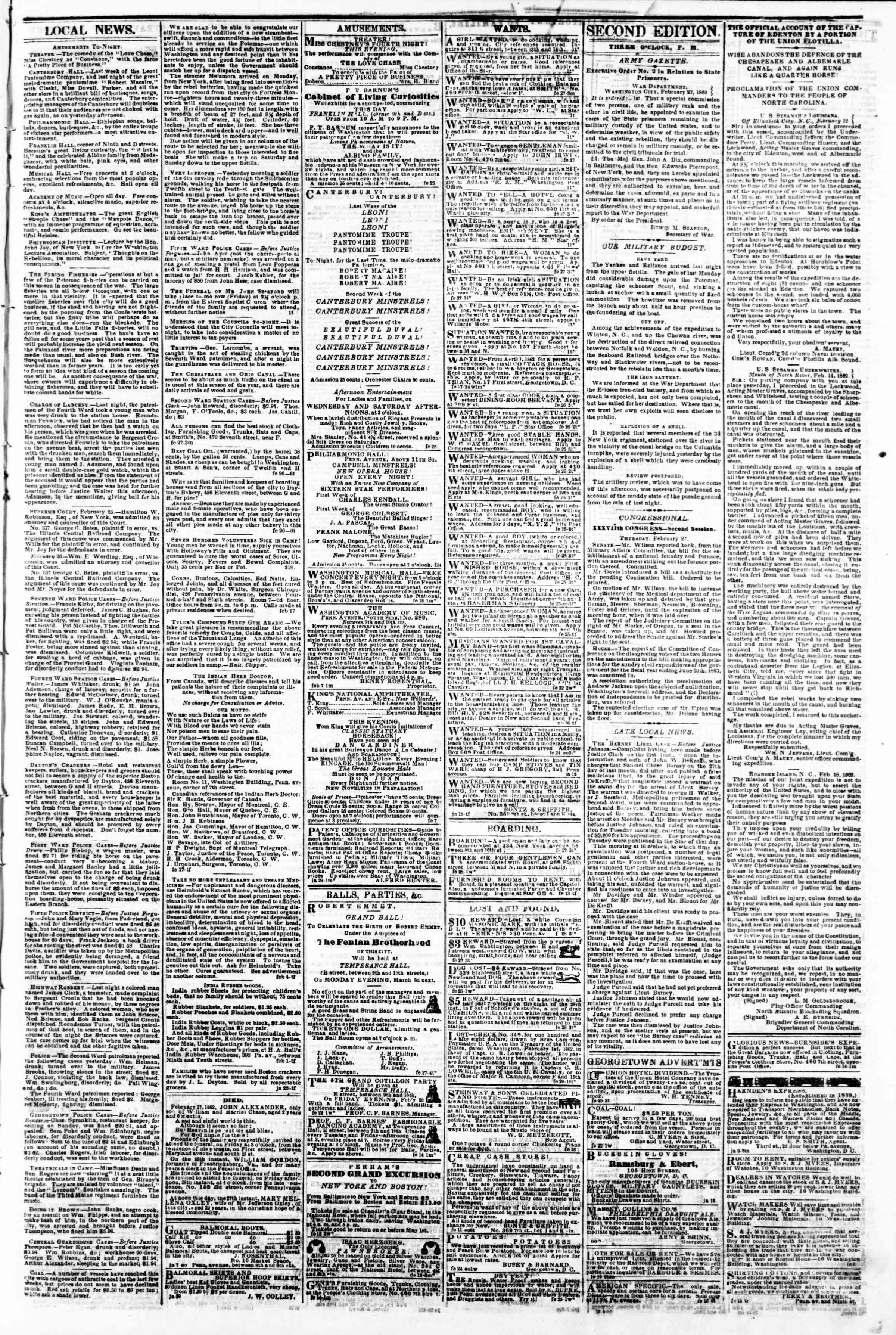 Newspaper of Evening Star dated February 27, 1862 Page 3