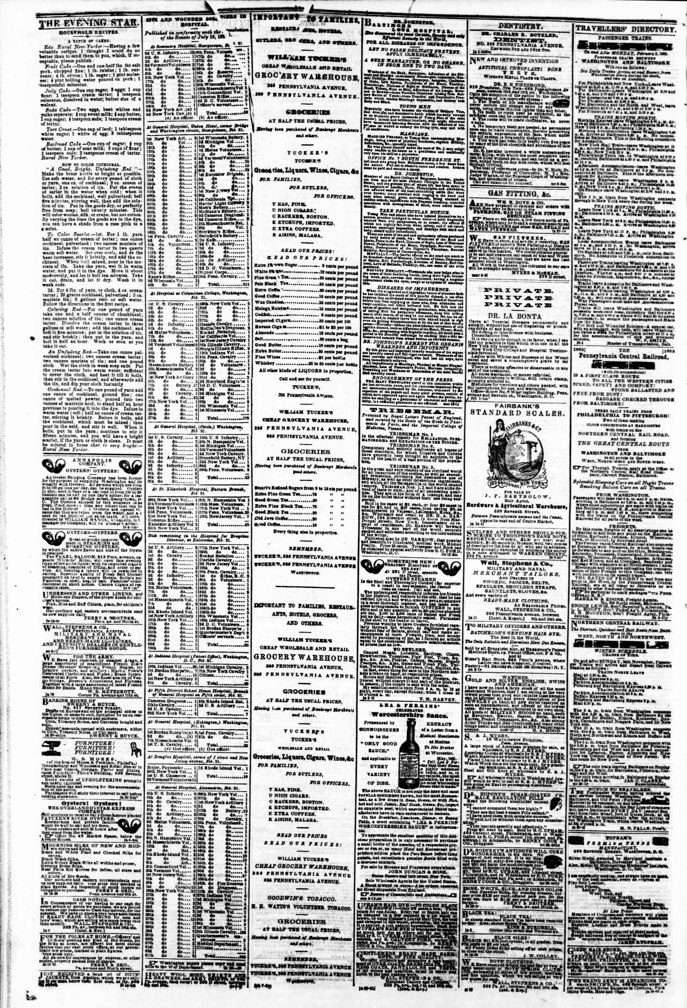 Newspaper of Evening Star dated February 27, 1862 Page 4