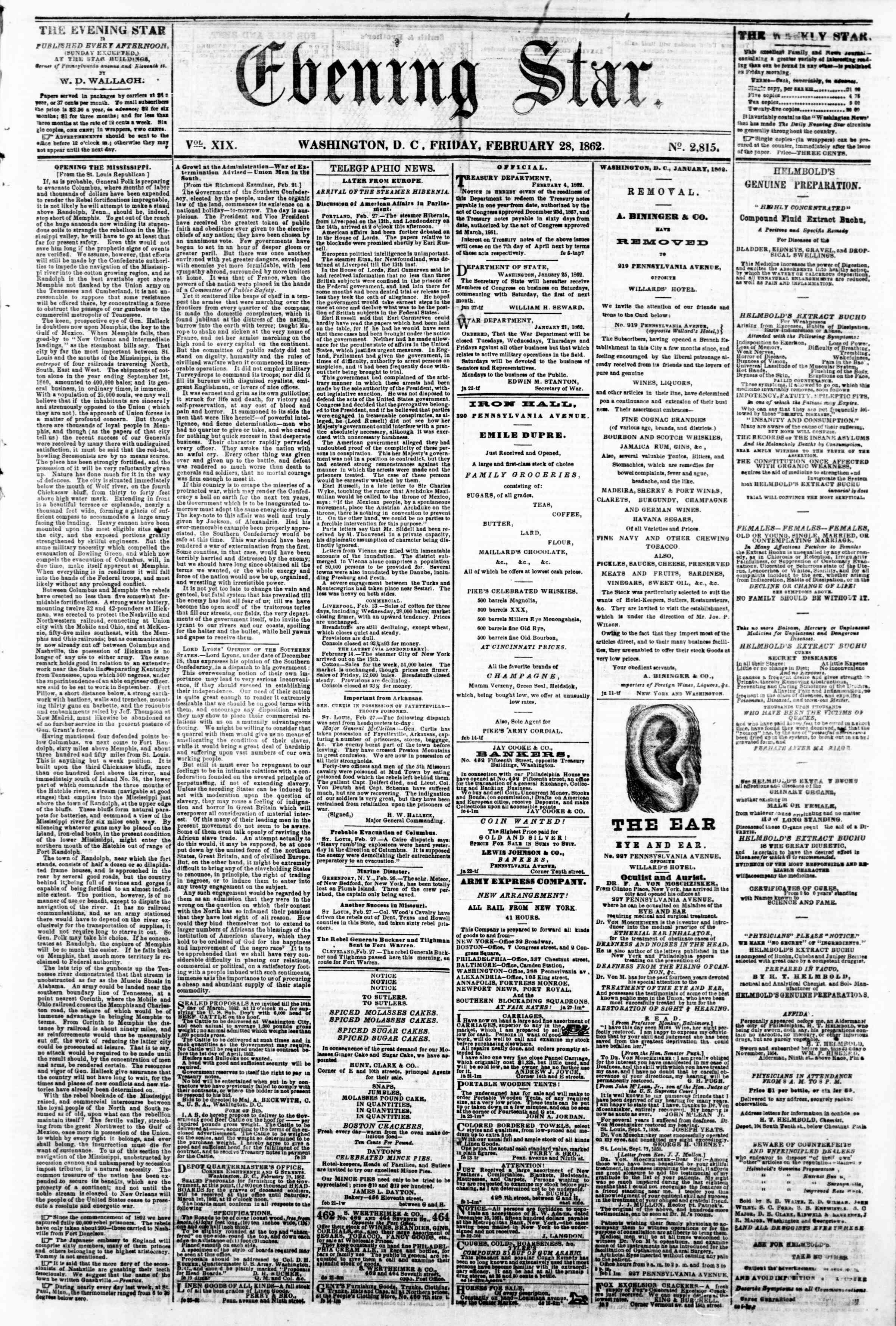 Newspaper of Evening Star dated February 28, 1862 Page 1