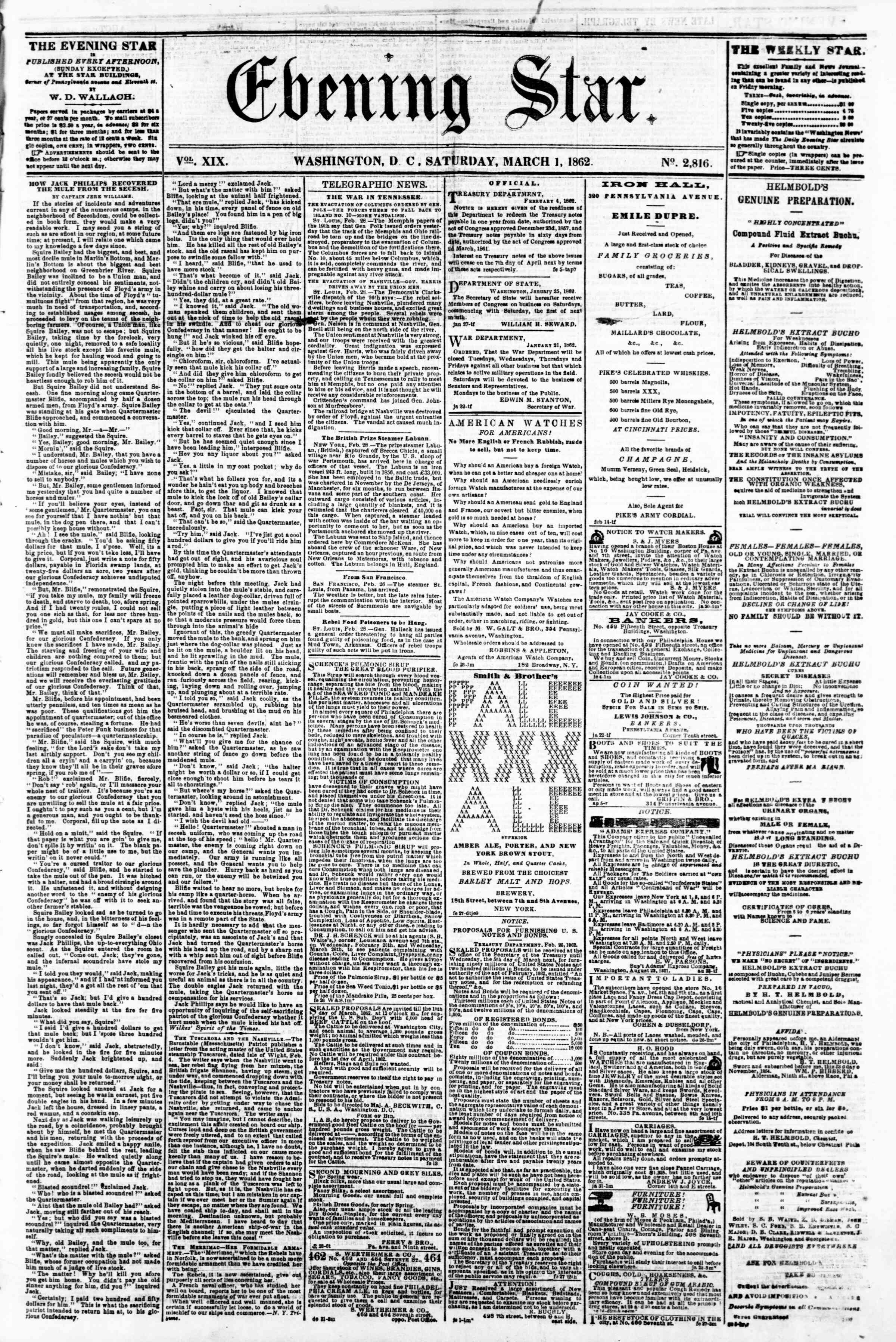 Newspaper of Evening Star dated March 1, 1862 Page 1