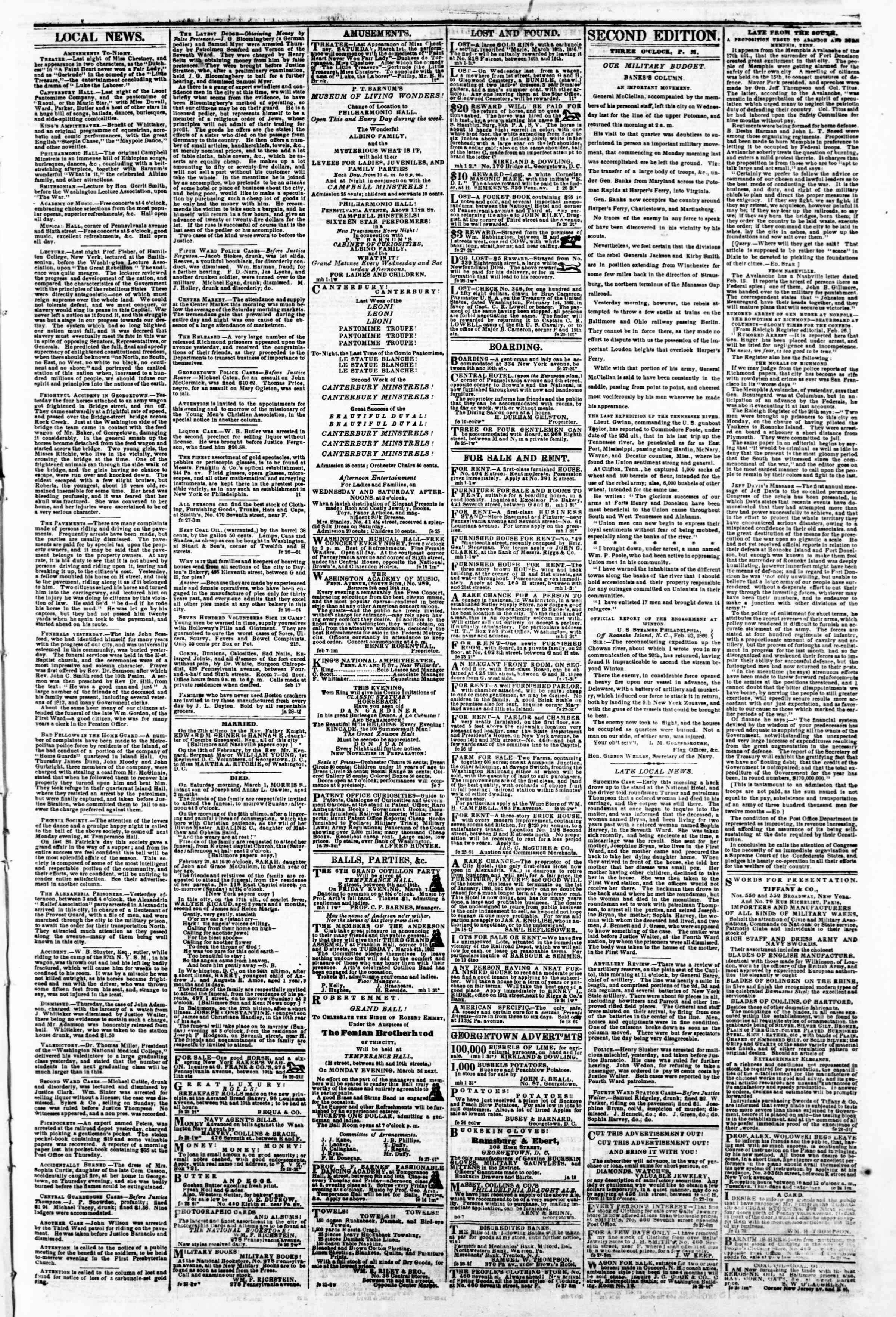 Newspaper of Evening Star dated March 1, 1862 Page 3