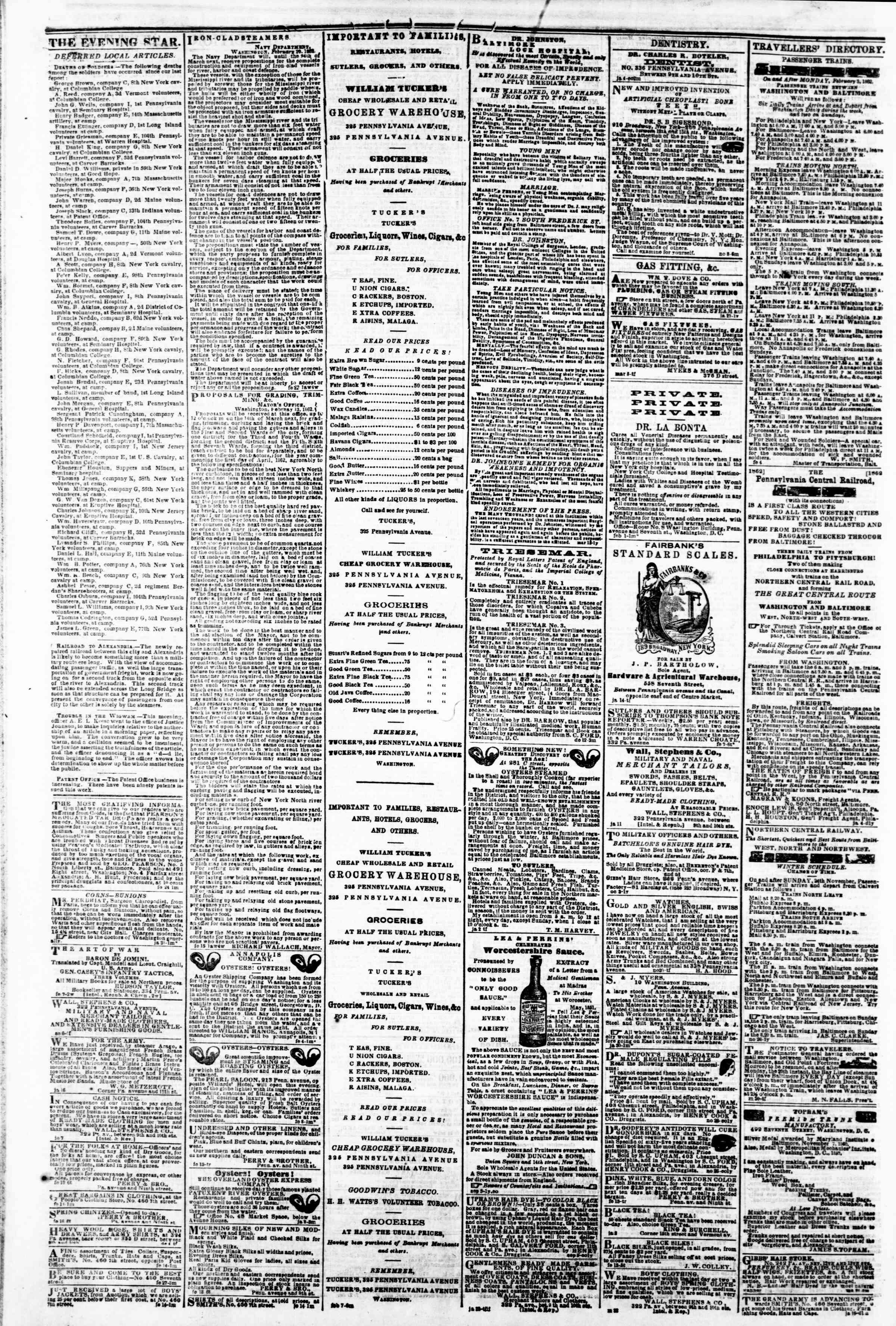 Newspaper of Evening Star dated March 1, 1862 Page 4