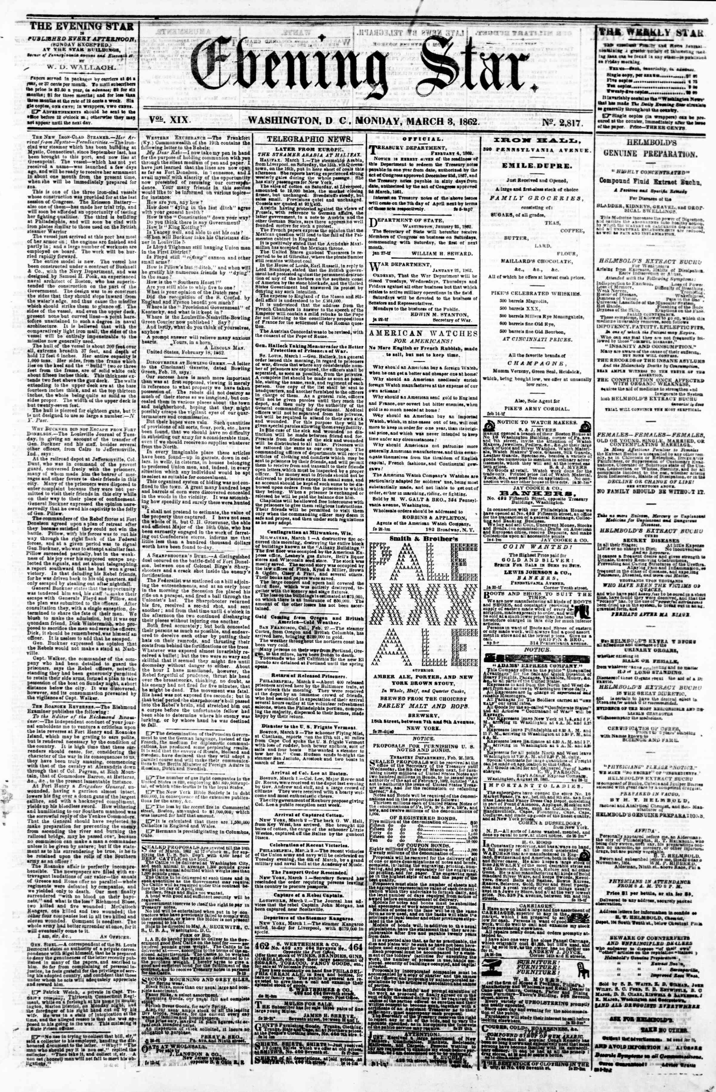 3 Mart 1862 tarihli Evening Star Gazetesi Sayfa 1