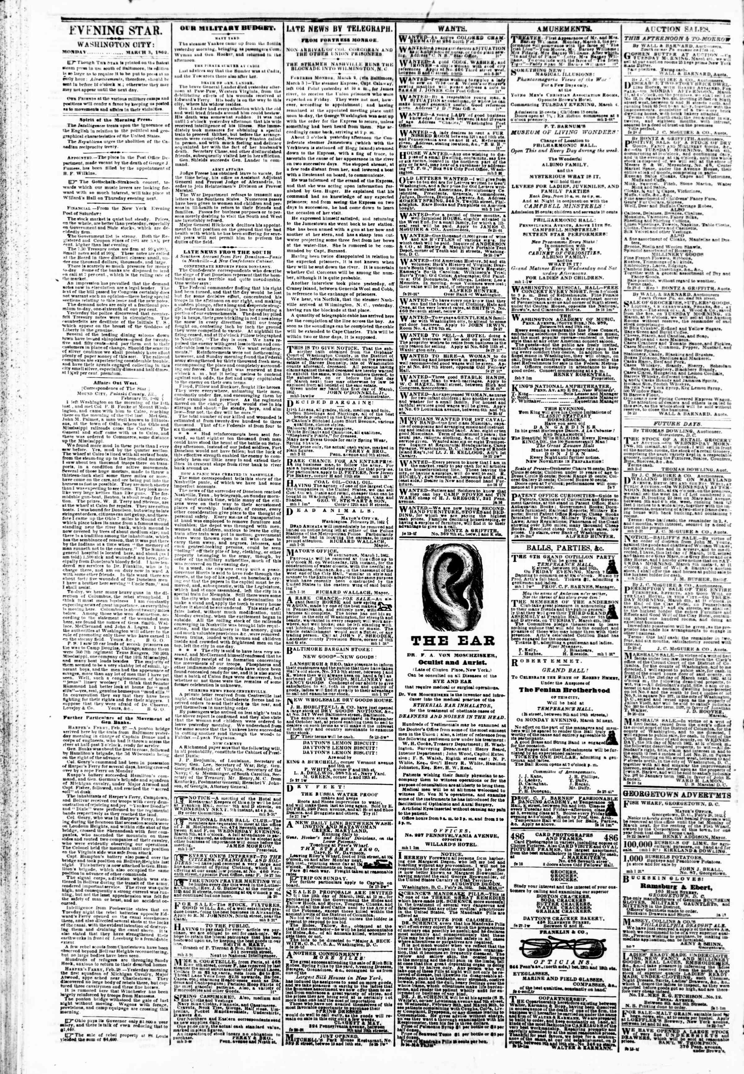 Newspaper of Evening Star dated March 3, 1862 Page 2