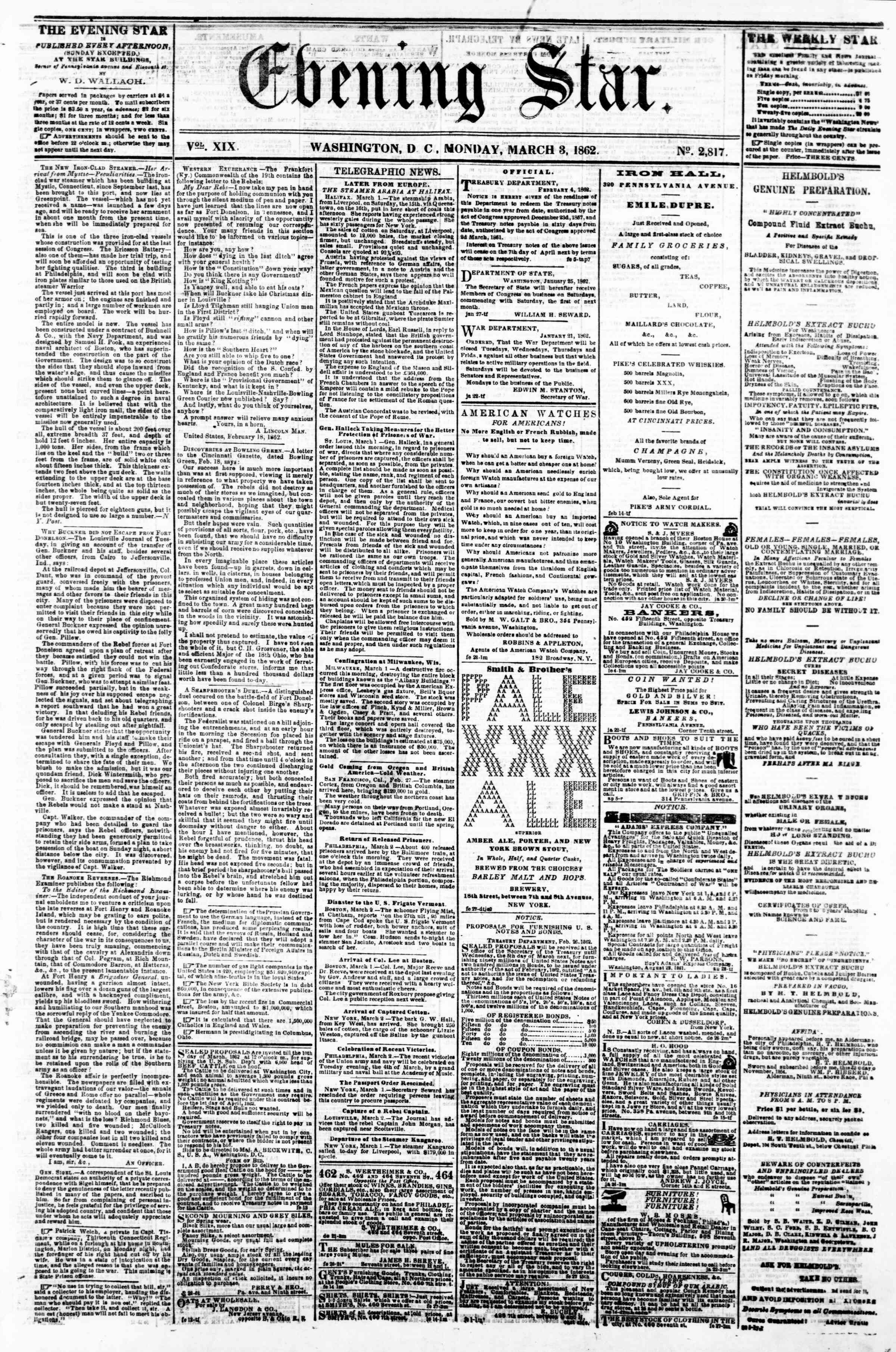 Newspaper of Evening Star dated March 3, 1862 Page 3