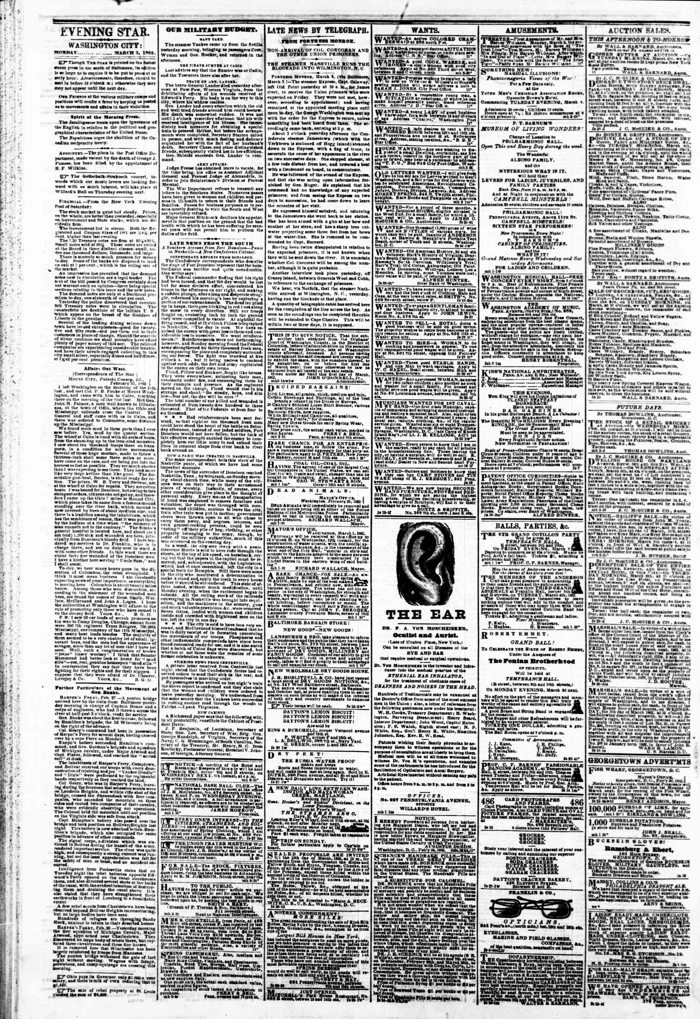 Newspaper of Evening Star dated March 3, 1862 Page 4