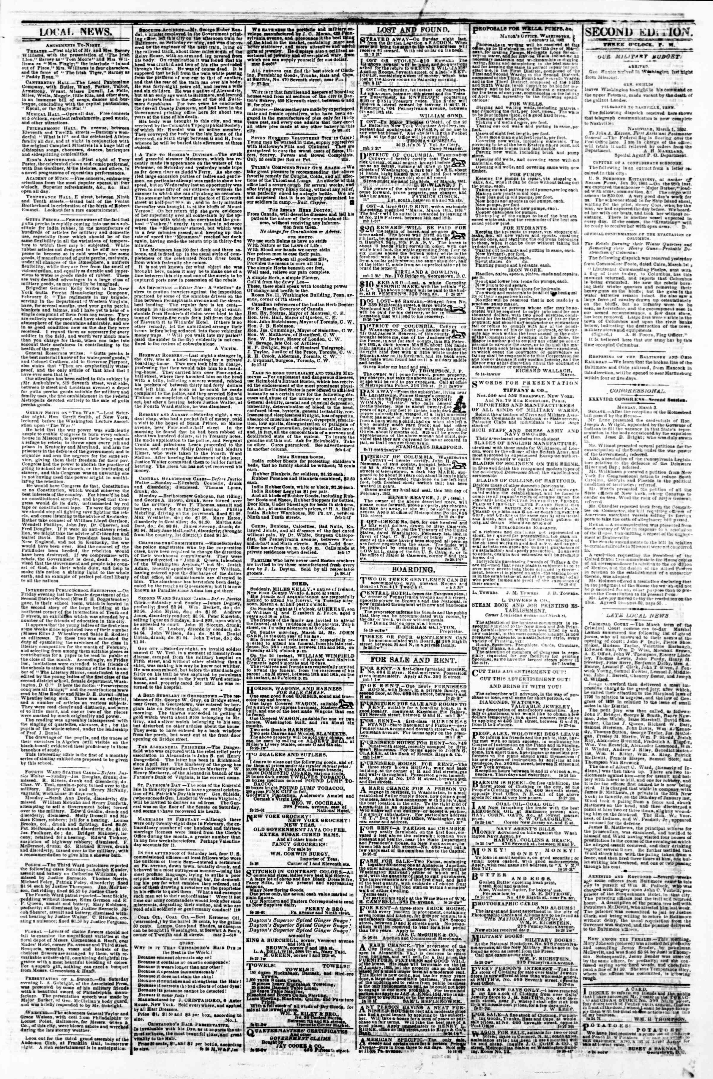 Newspaper of Evening Star dated March 3, 1862 Page 5