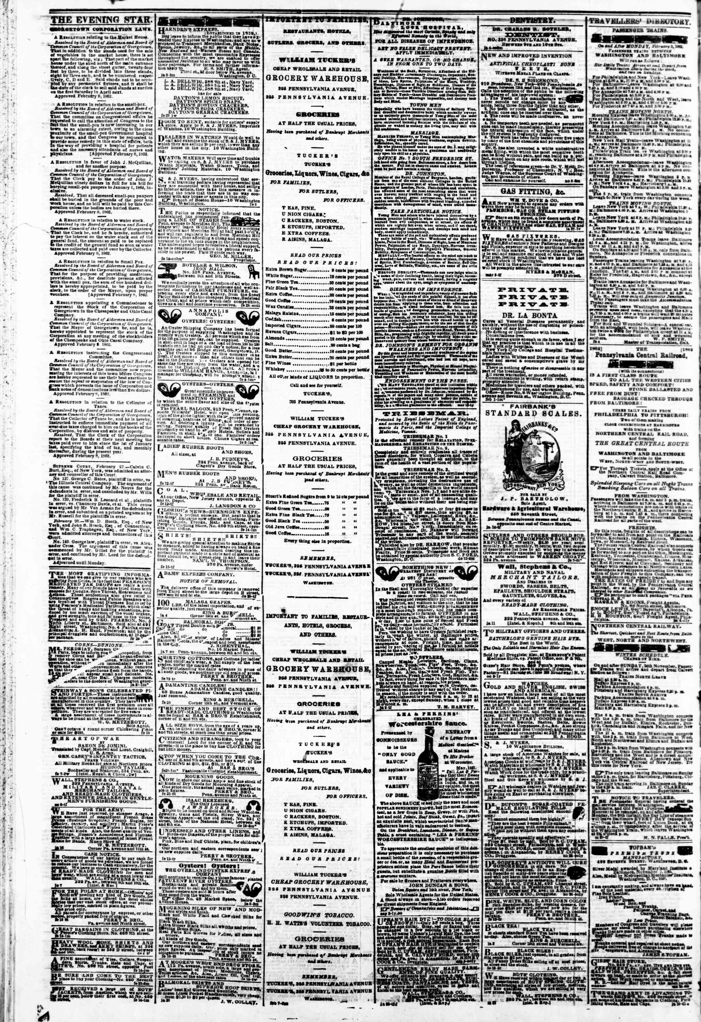 Newspaper of Evening Star dated March 3, 1862 Page 6