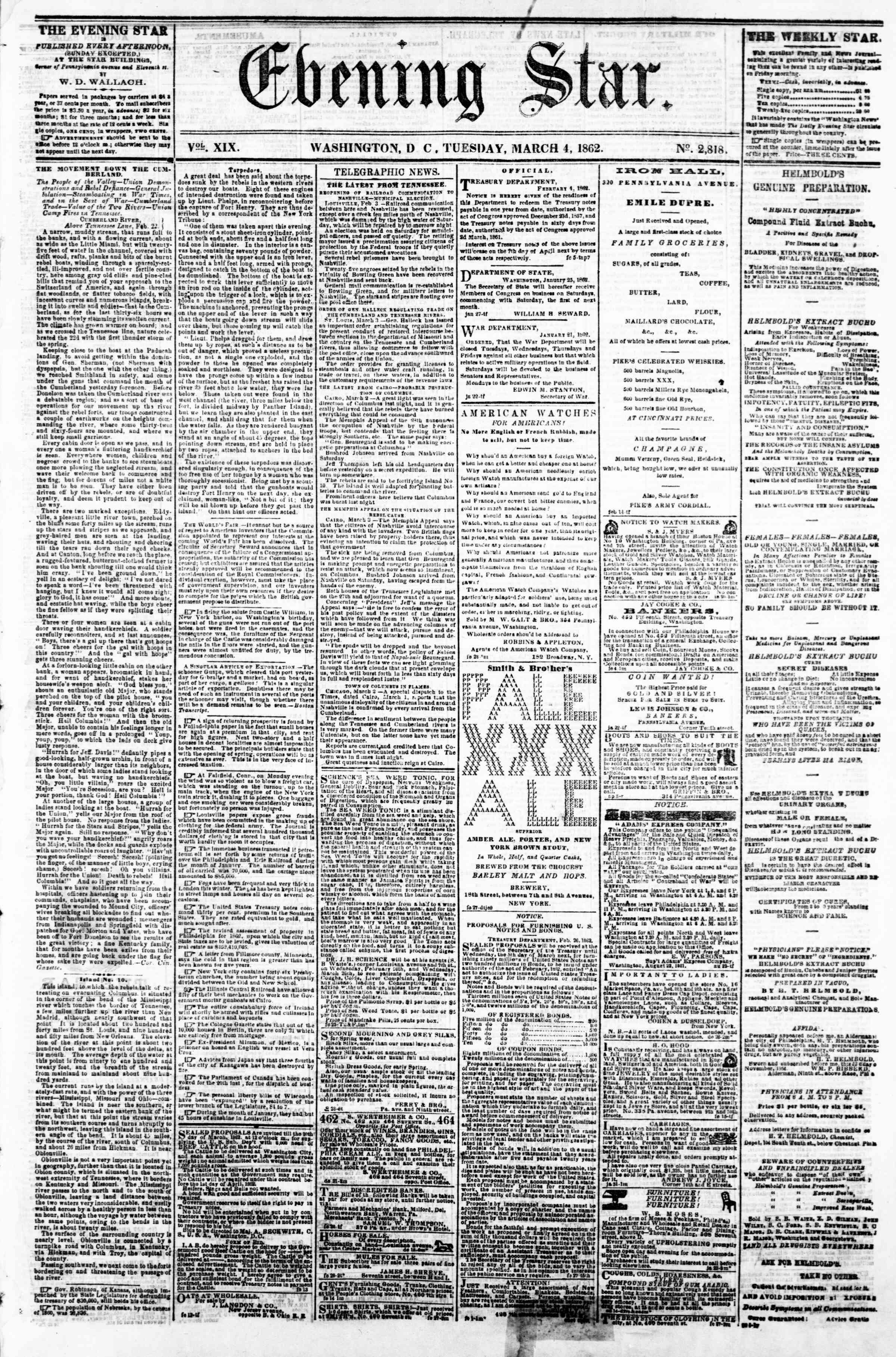 Newspaper of Evening Star dated March 4, 1862 Page 1