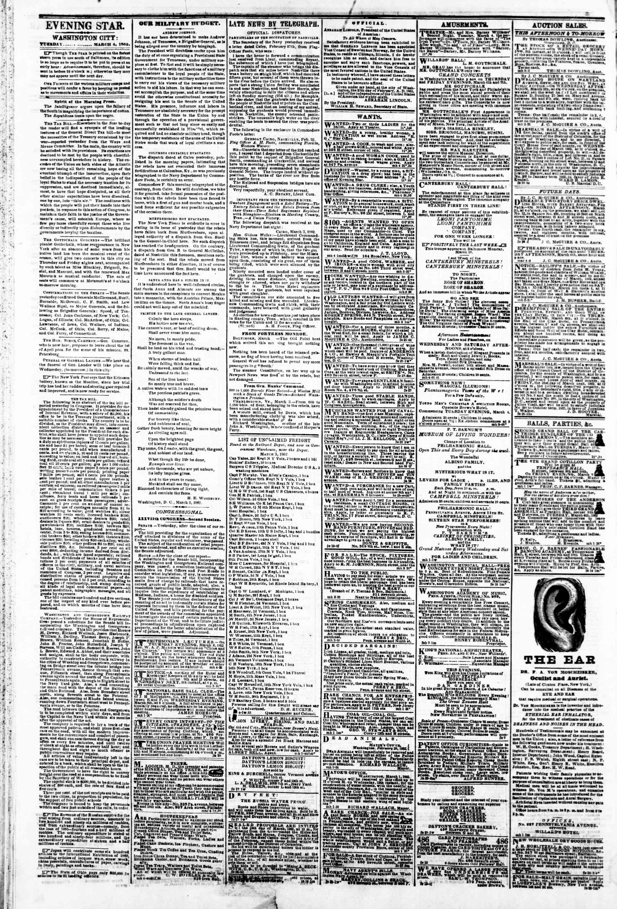 Newspaper of Evening Star dated March 4, 1862 Page 2