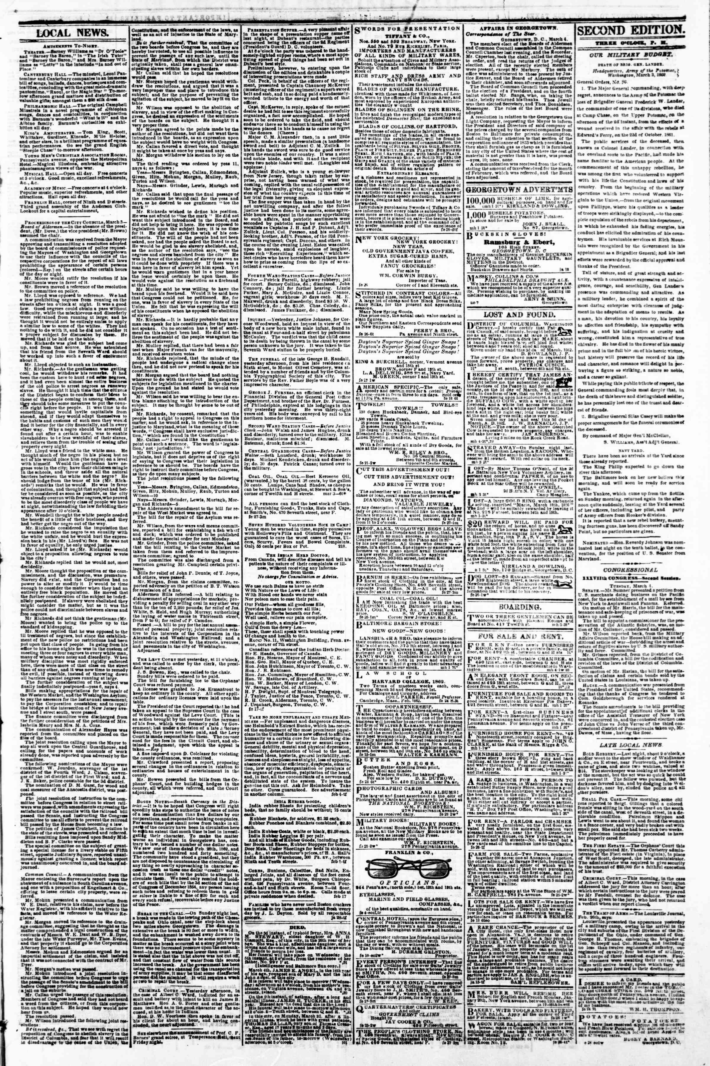 Newspaper of Evening Star dated March 4, 1862 Page 3
