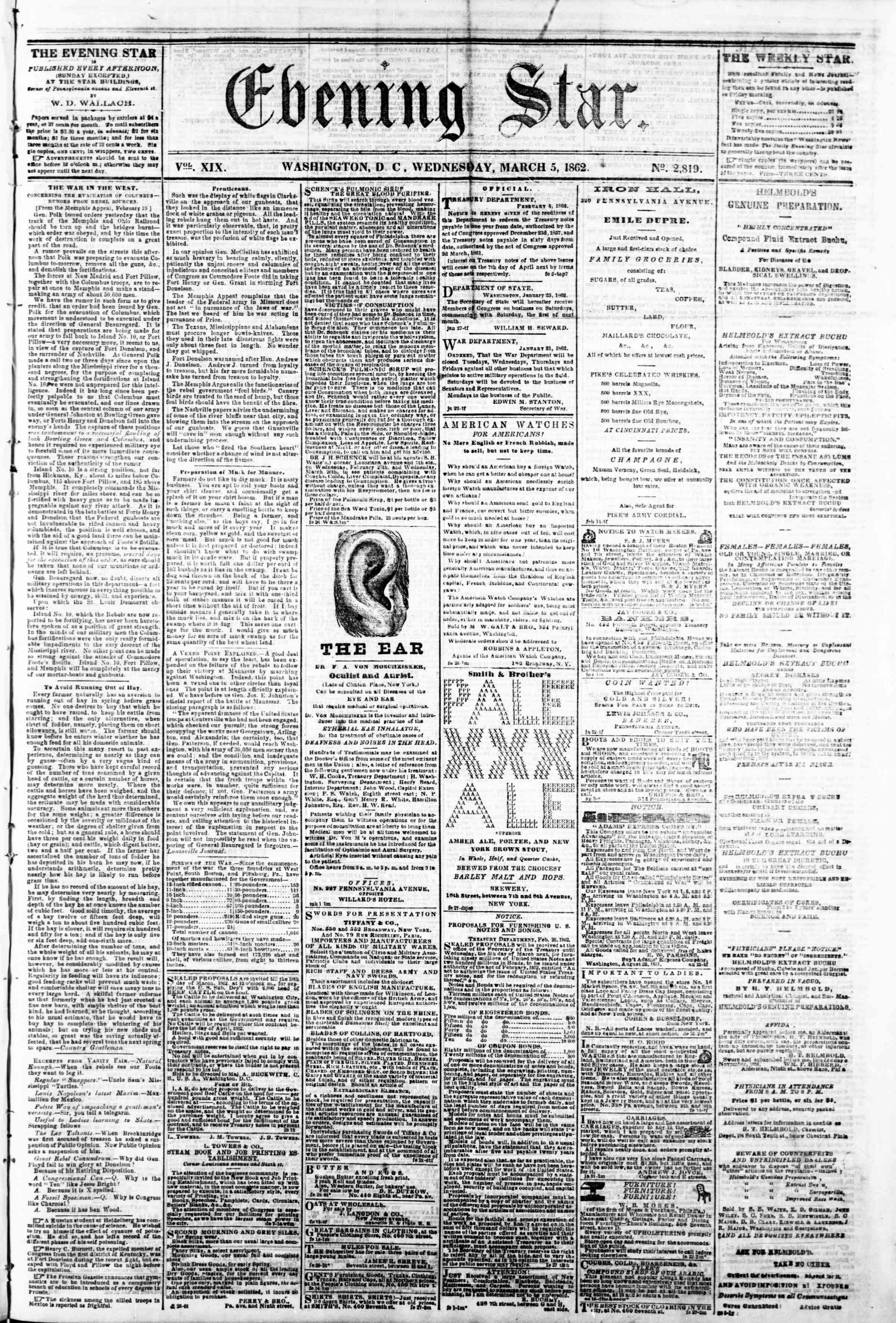 5 Mart 1862 tarihli Evening Star Gazetesi Sayfa 1