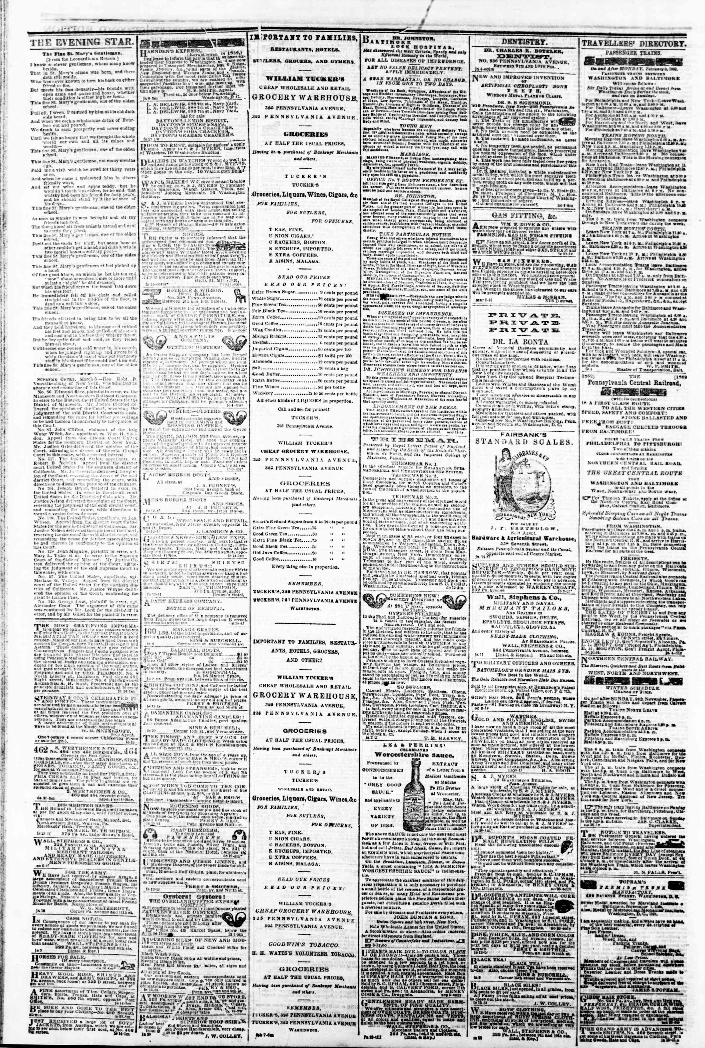 Newspaper of Evening Star dated 5 Mart 1862 Page 4