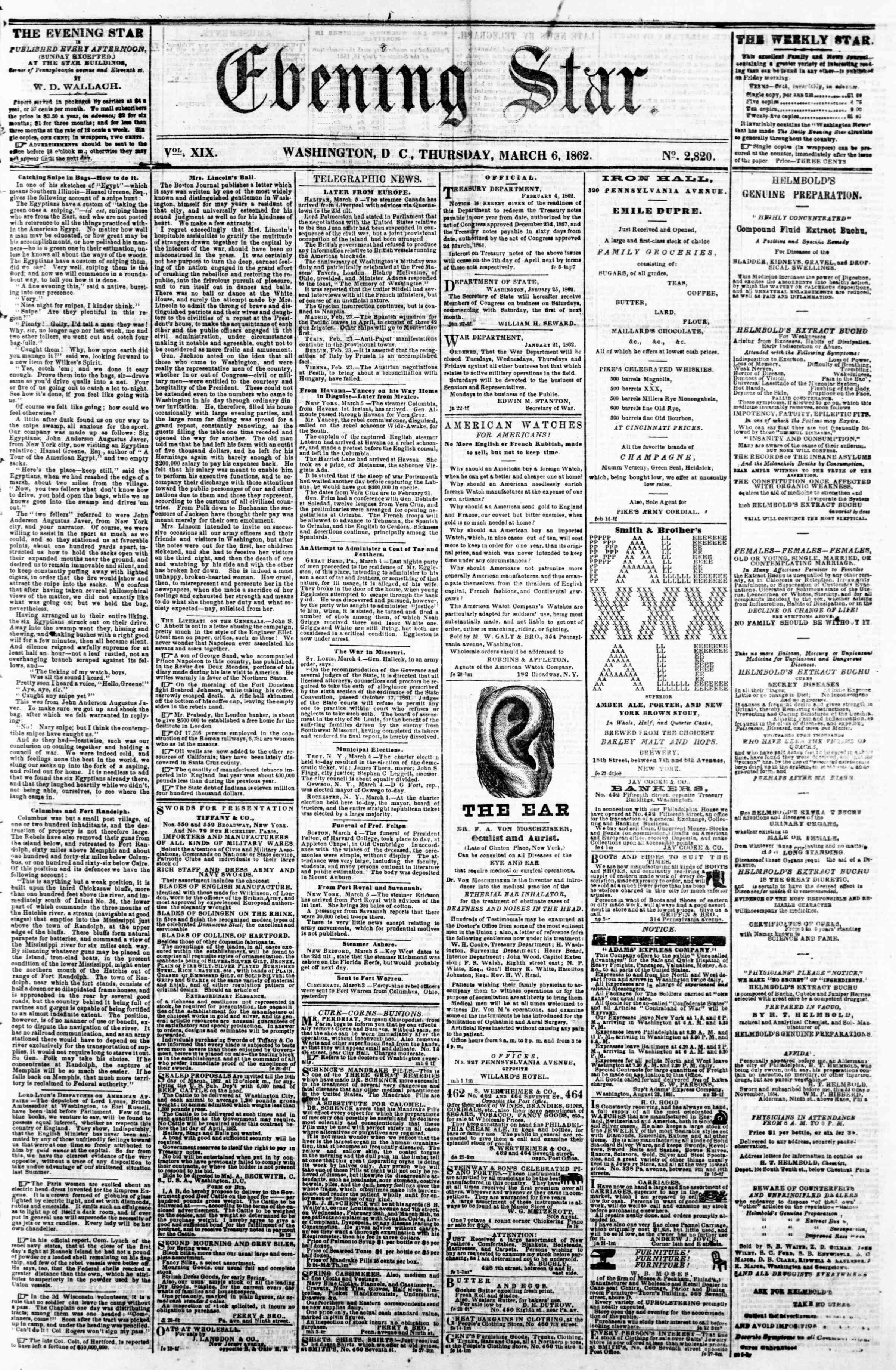 6 Mart 1862 tarihli Evening Star Gazetesi Sayfa 1