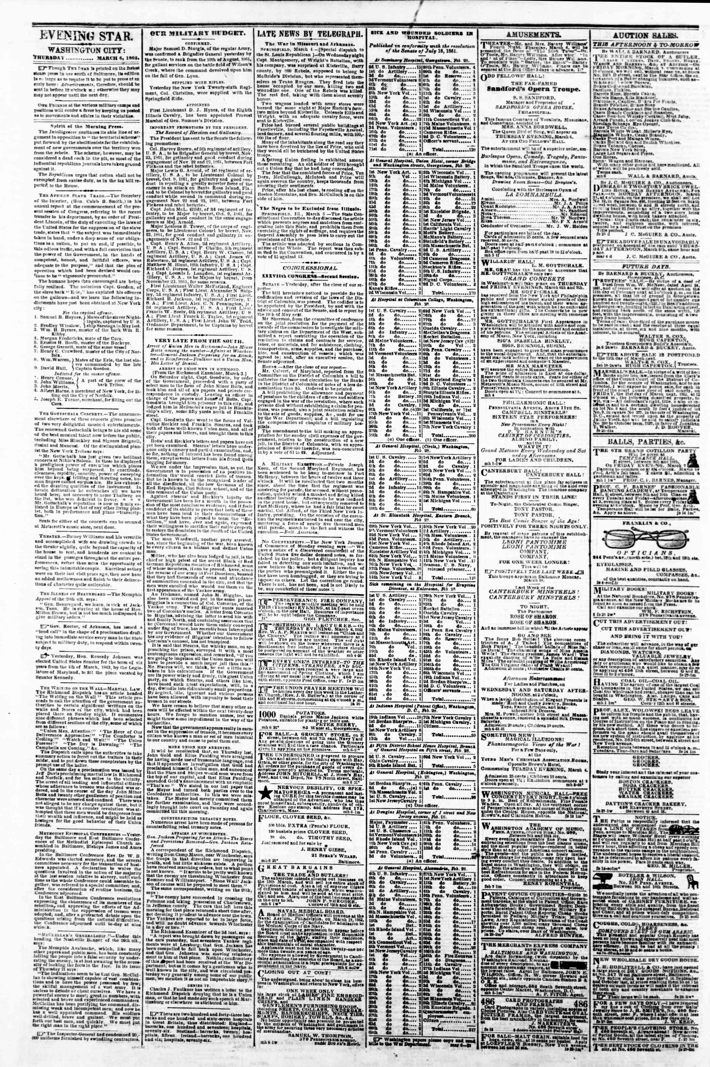 Newspaper of Evening Star dated March 6, 1862 Page 2