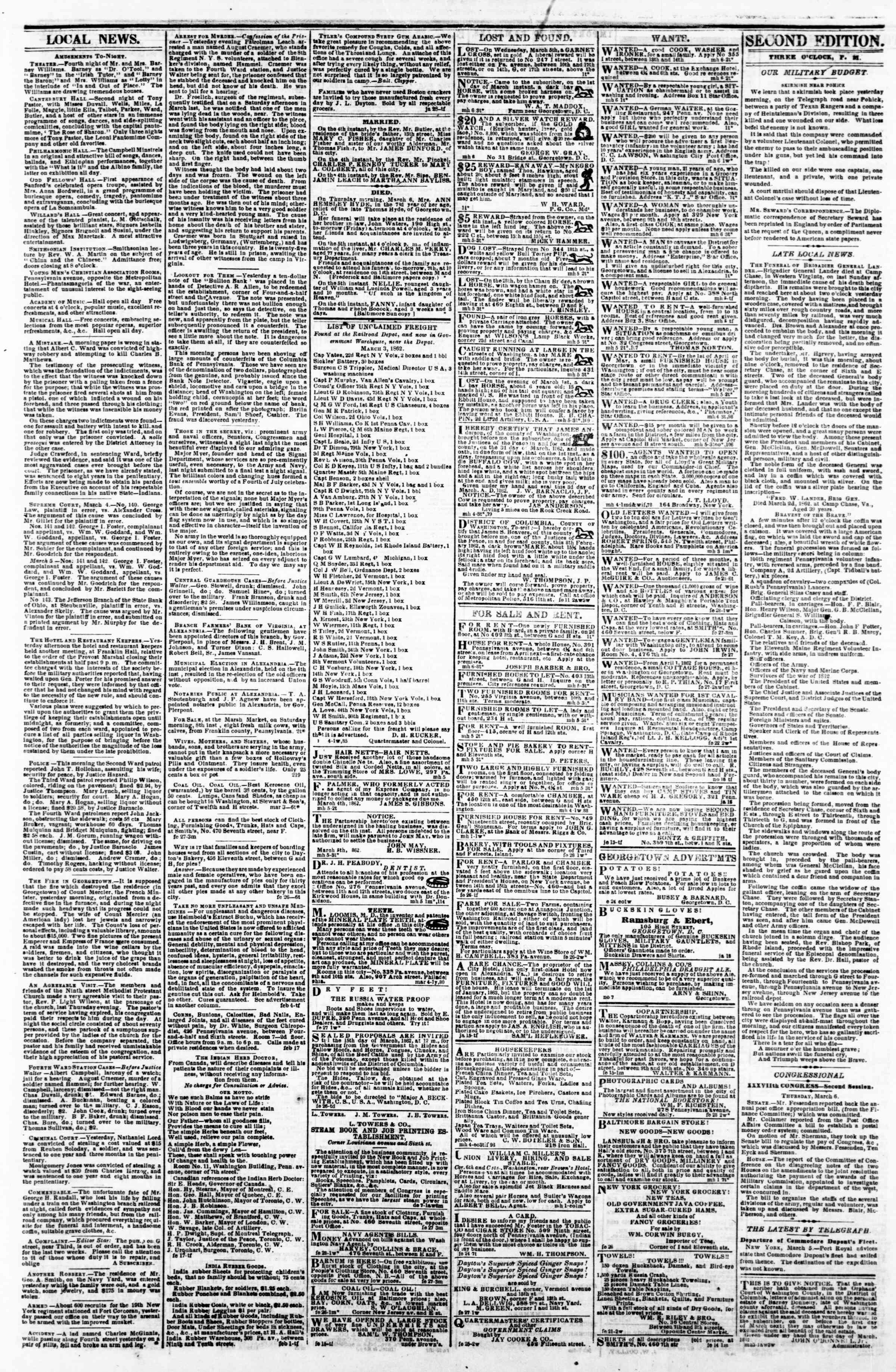 Newspaper of Evening Star dated March 6, 1862 Page 3