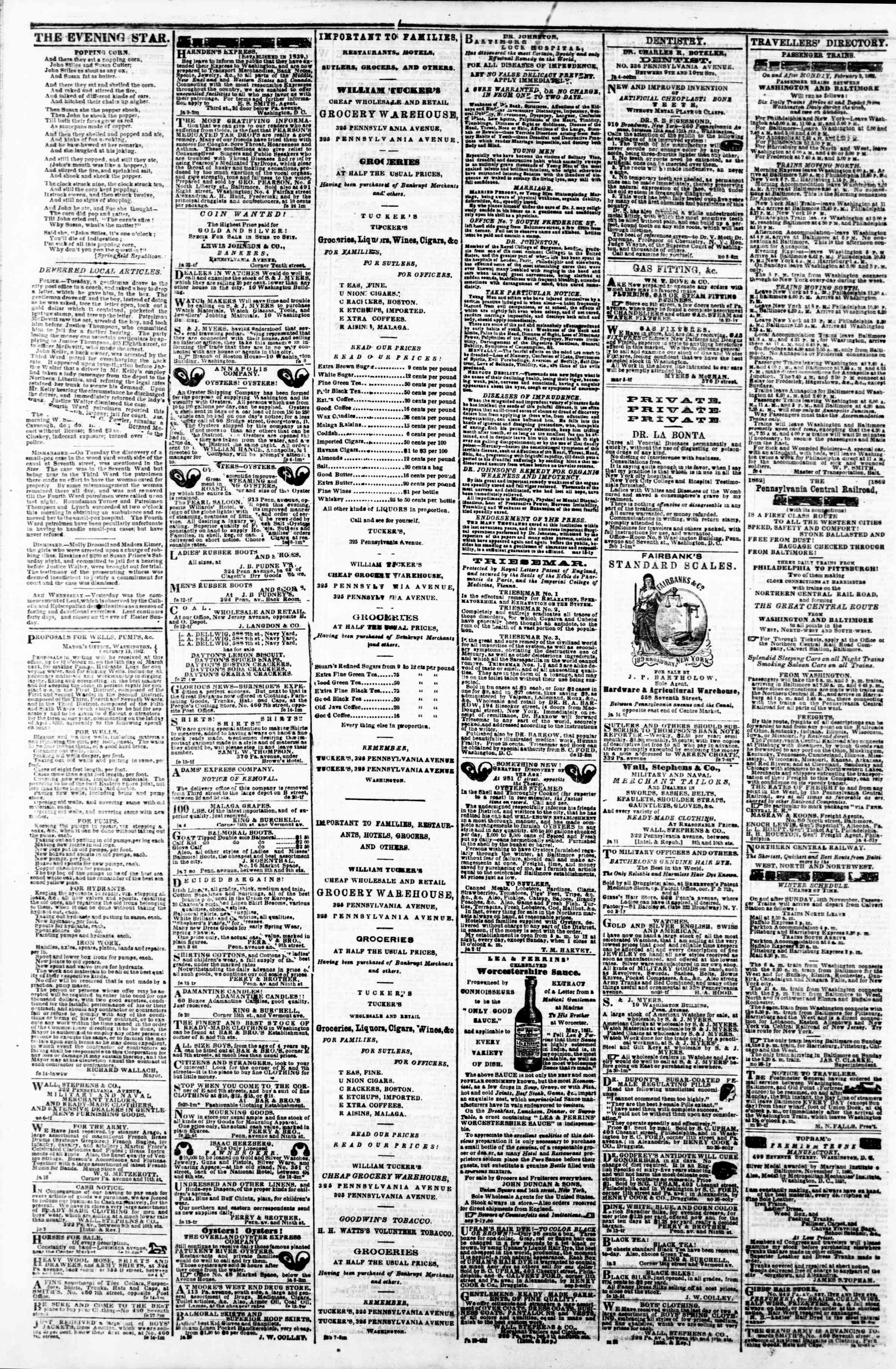 Newspaper of Evening Star dated March 6, 1862 Page 4