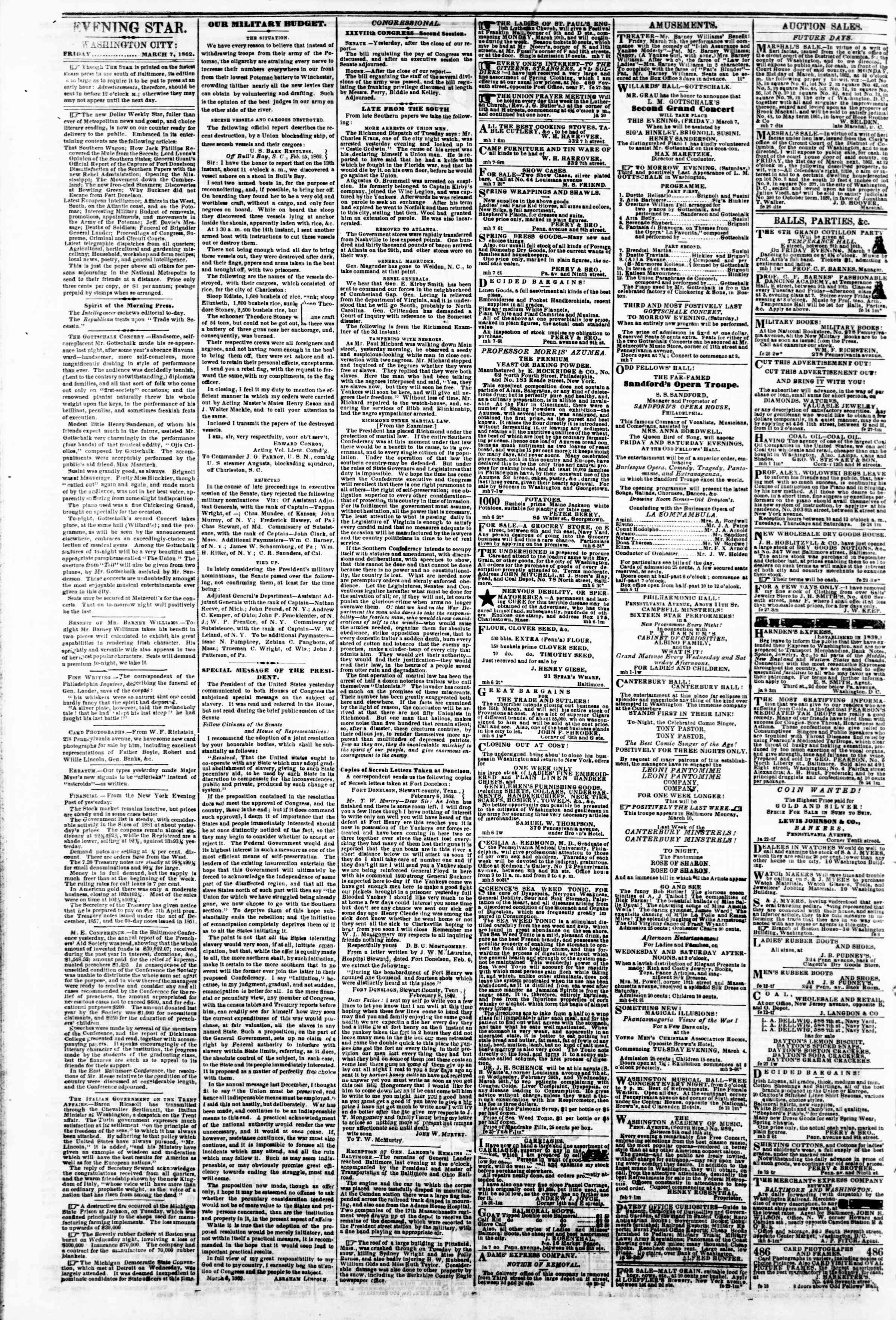 Newspaper of Evening Star dated March 7, 1862 Page 2