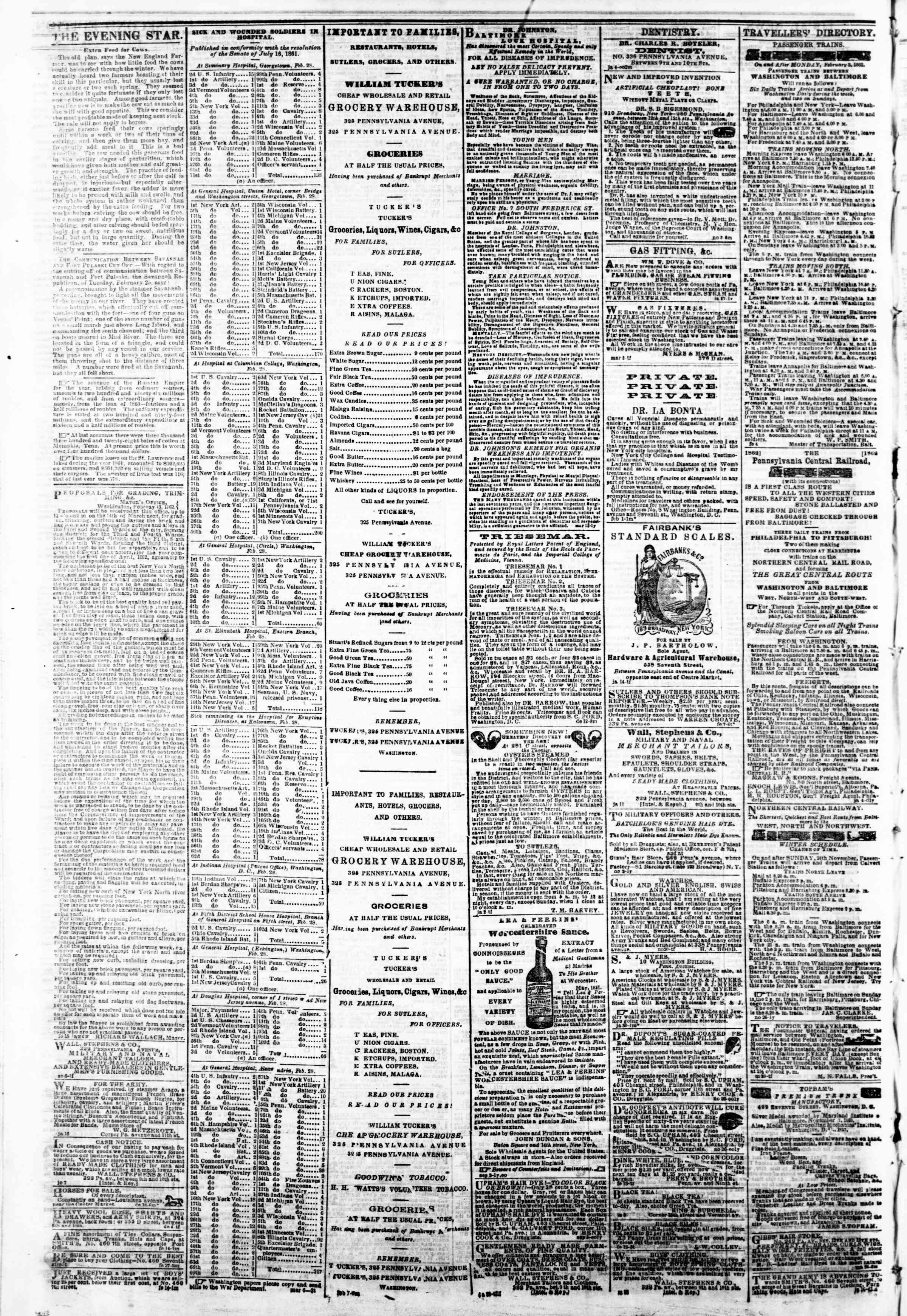 Newspaper of Evening Star dated March 7, 1862 Page 4