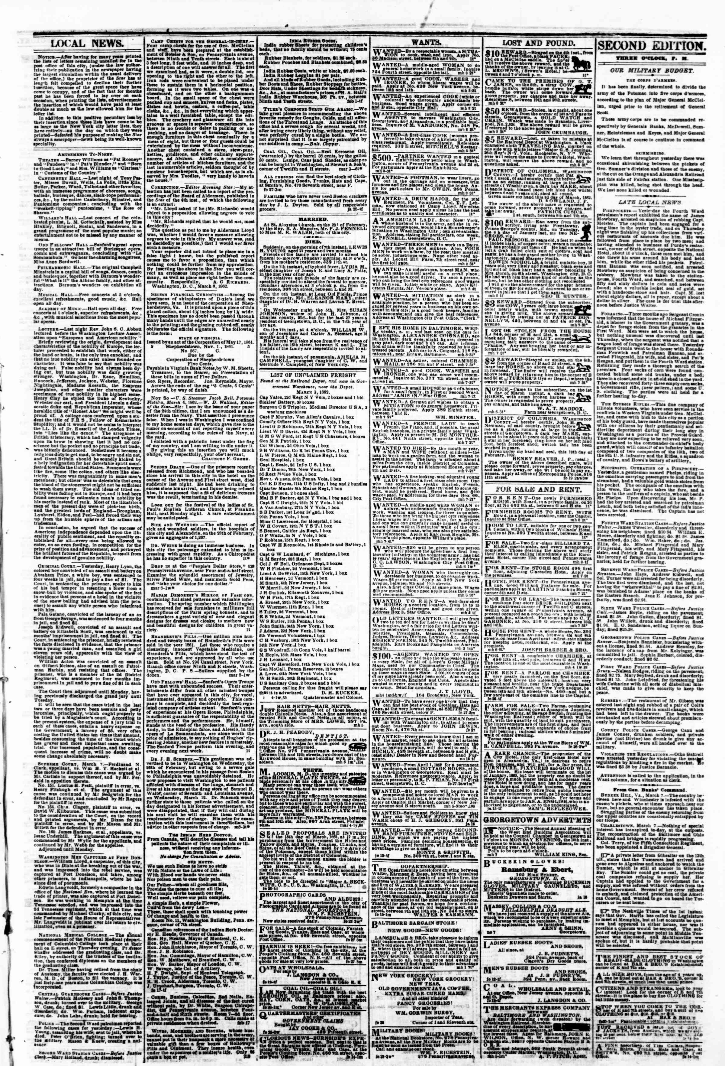 Newspaper of Evening Star dated March 8, 1862 Page 3