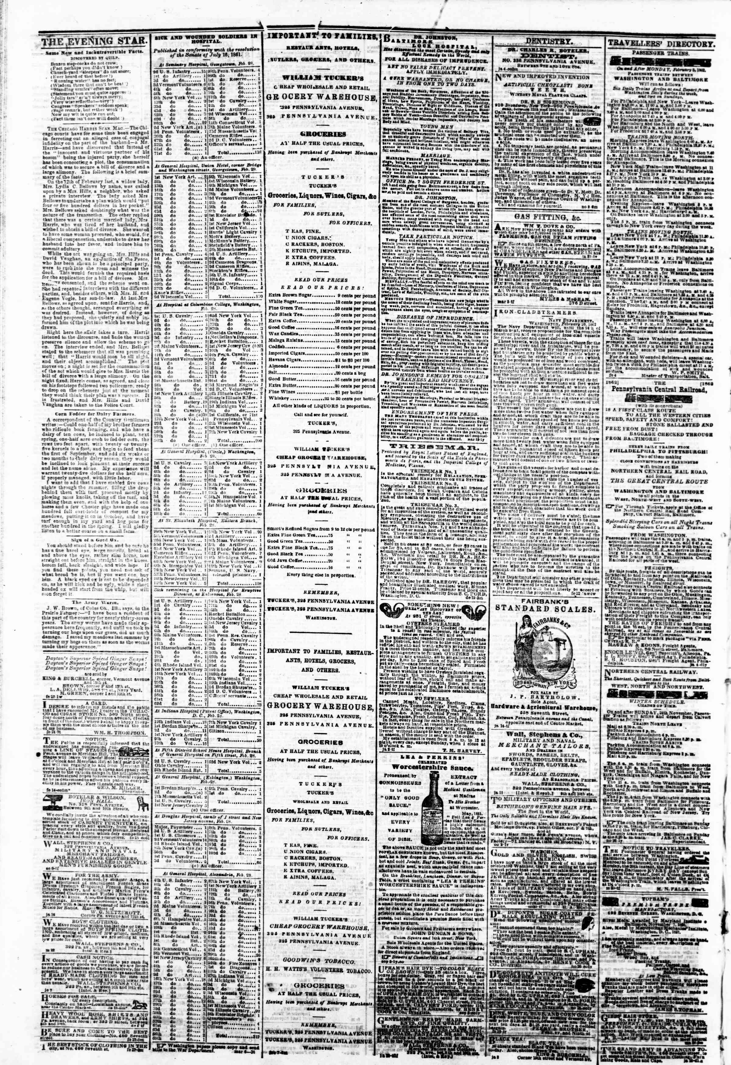 Newspaper of Evening Star dated March 8, 1862 Page 4