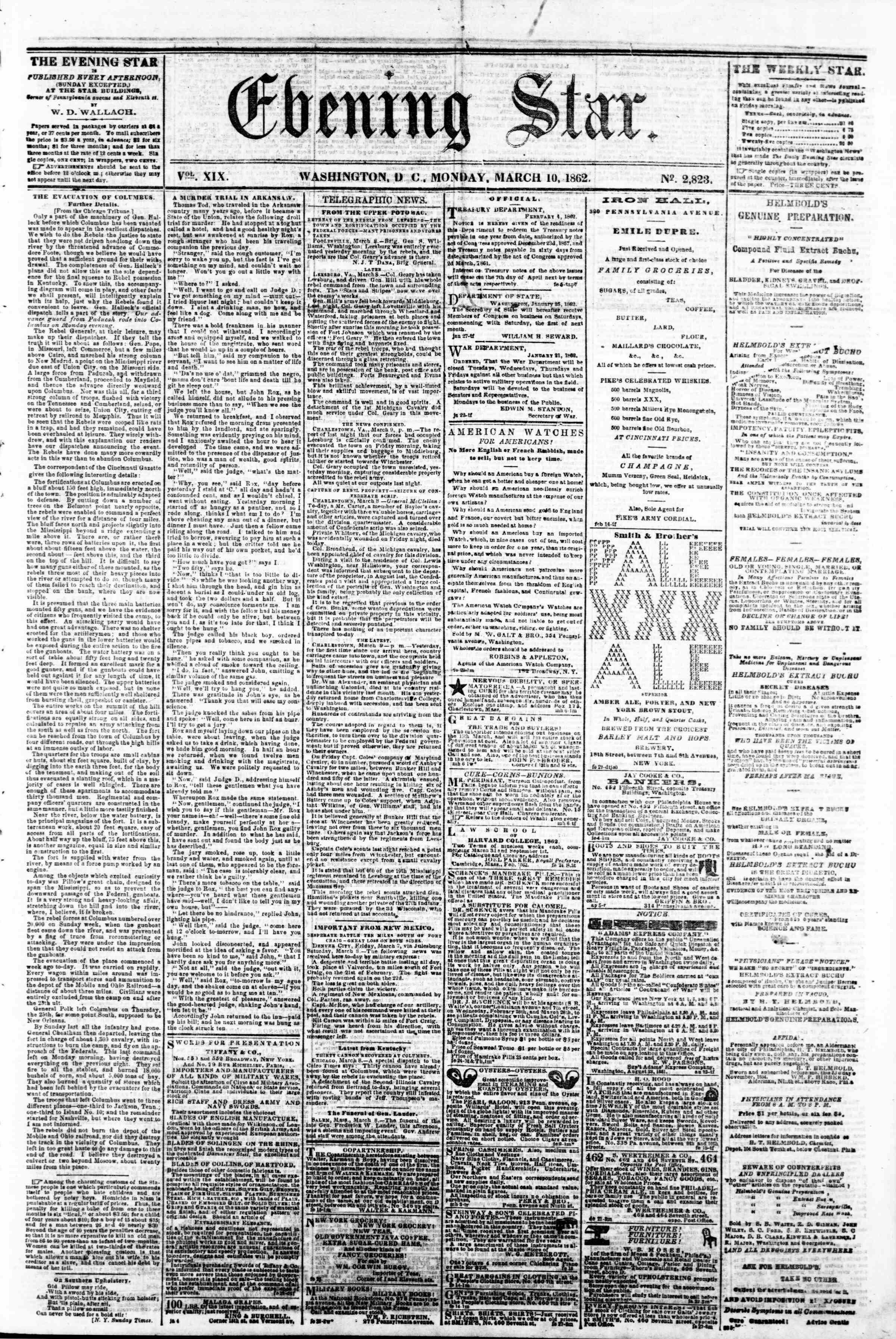 10 Mart 1862 tarihli Evening Star Gazetesi Sayfa 1