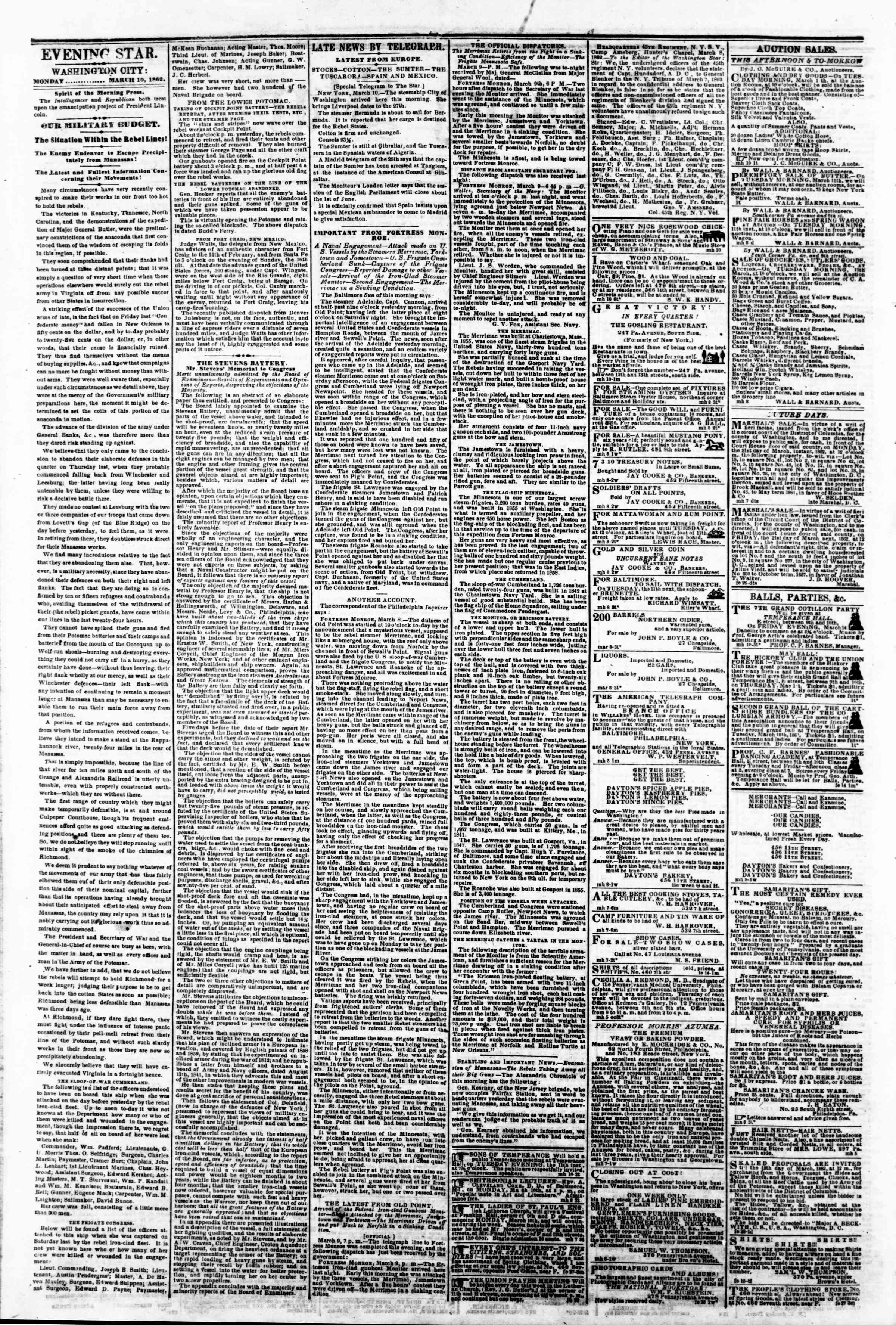 Newspaper of Evening Star dated March 10, 1862 Page 2