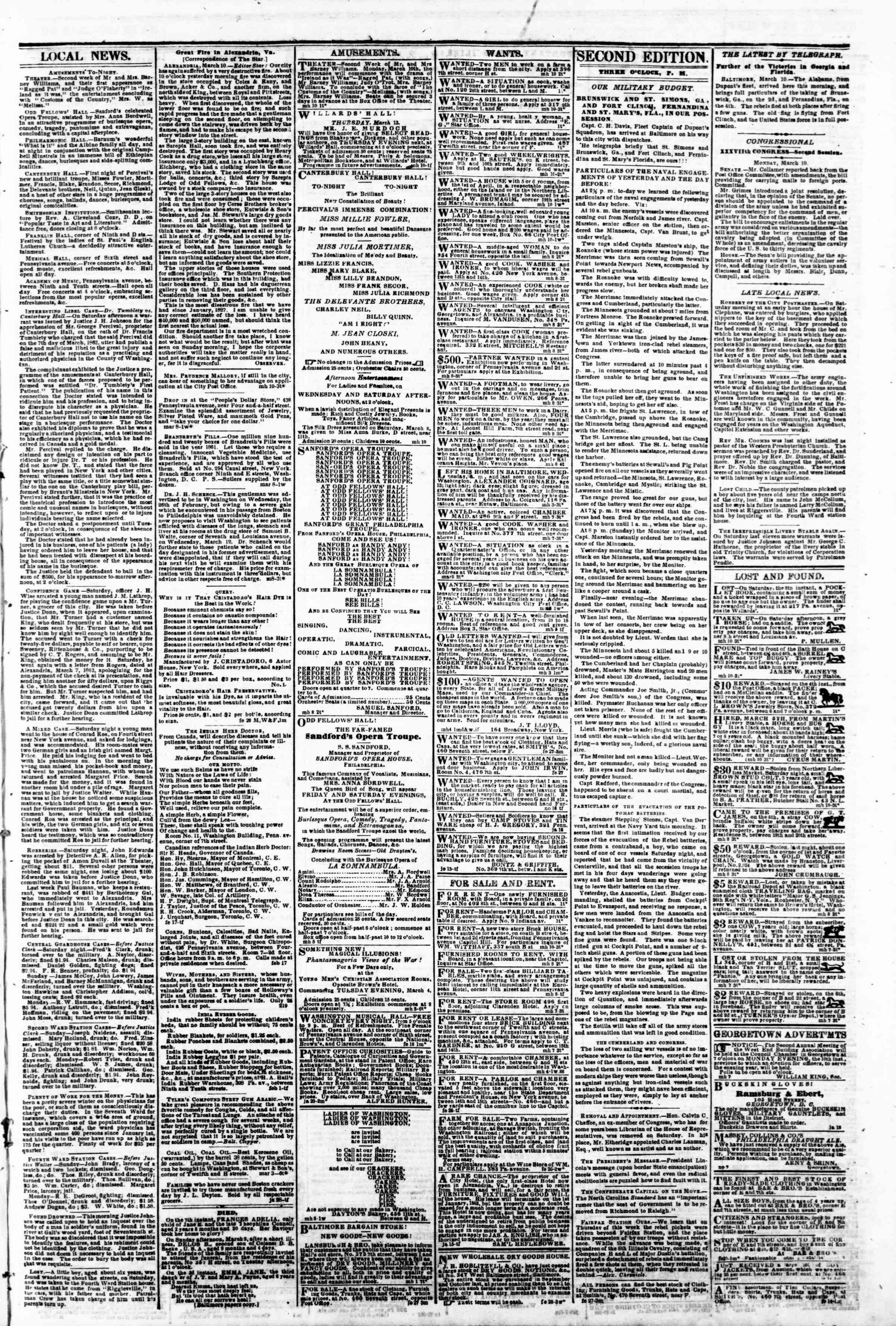 Newspaper of Evening Star dated March 10, 1862 Page 3