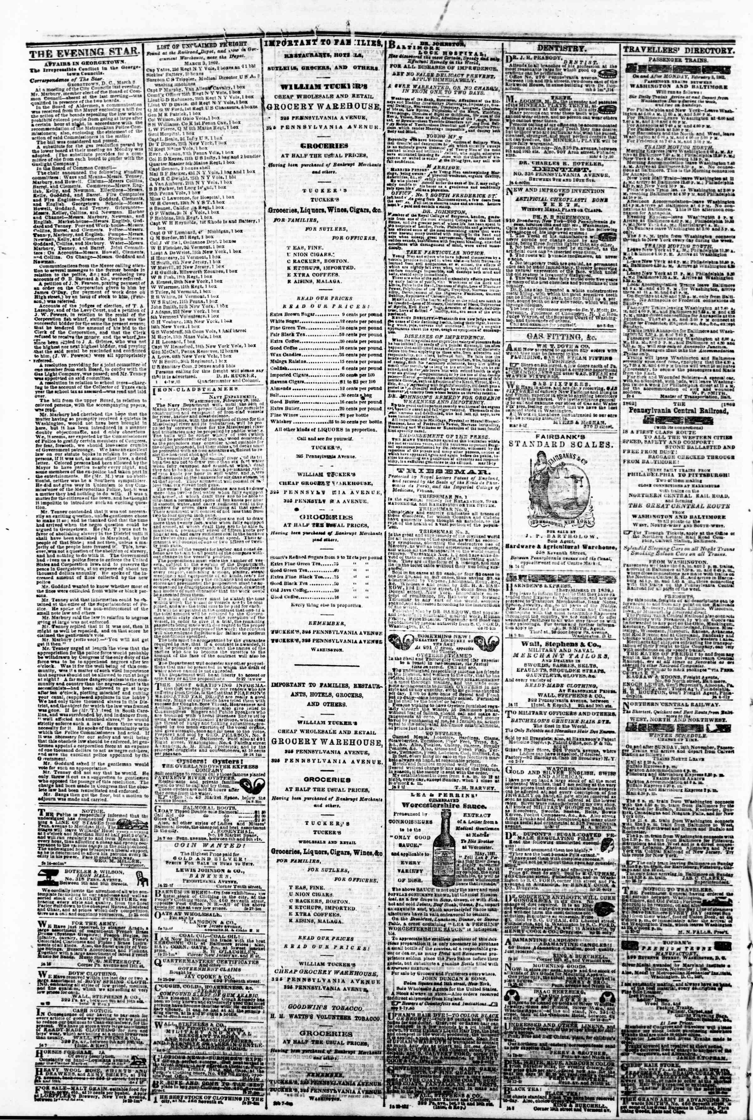 10 Mart 1862 tarihli Evening Star Gazetesi Sayfa 4