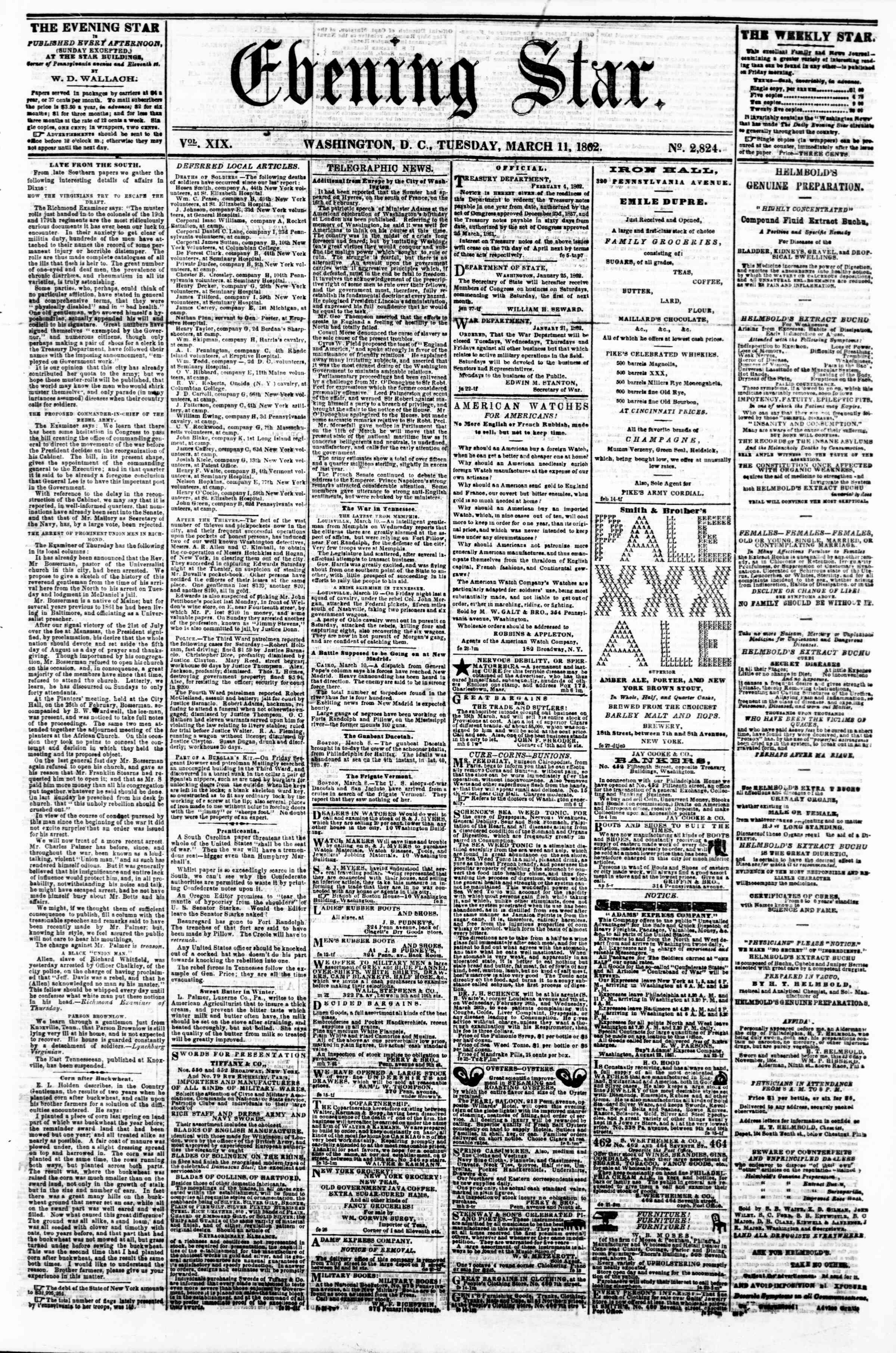 Newspaper of Evening Star dated March 11, 1862 Page 1