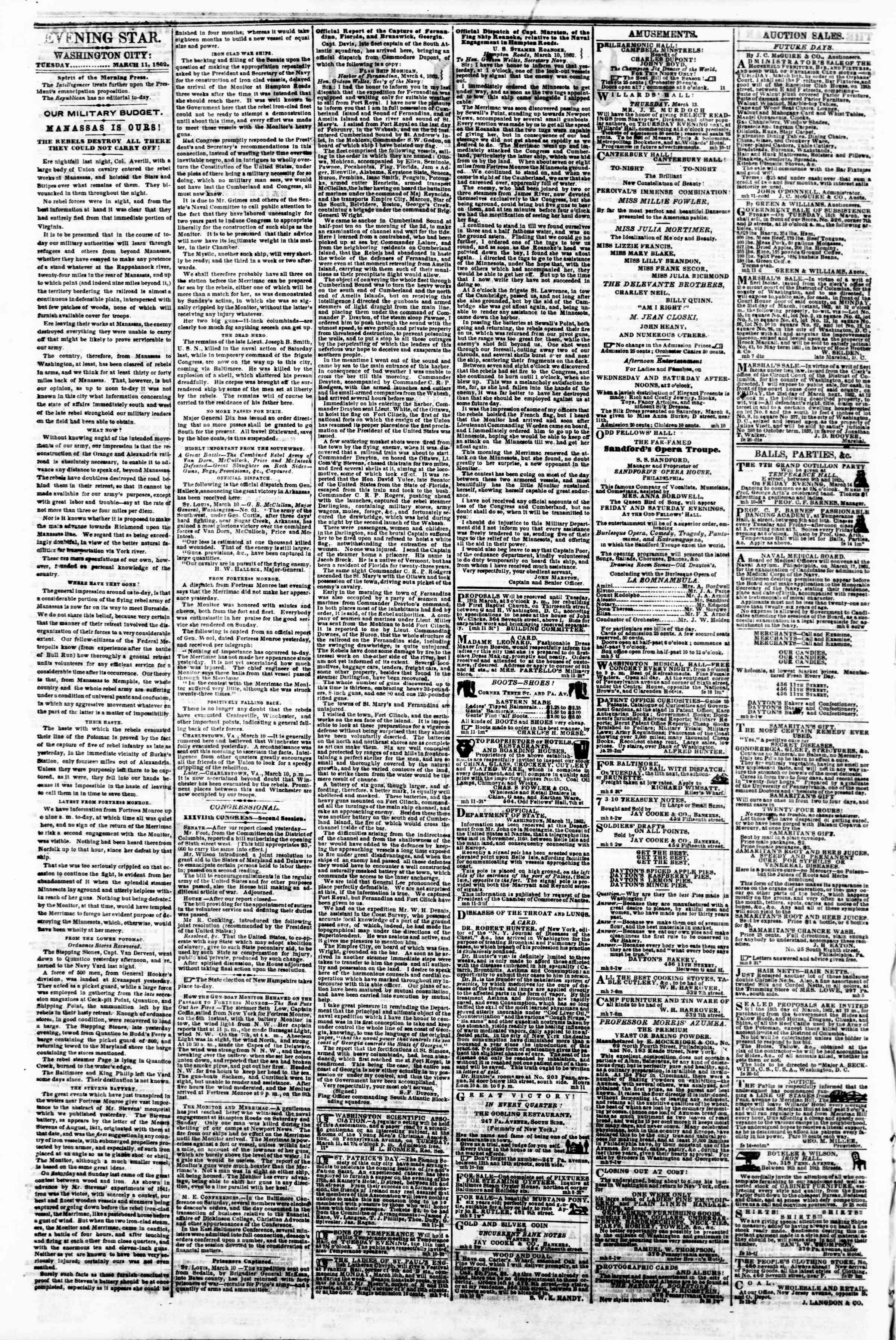 Newspaper of Evening Star dated March 11, 1862 Page 2