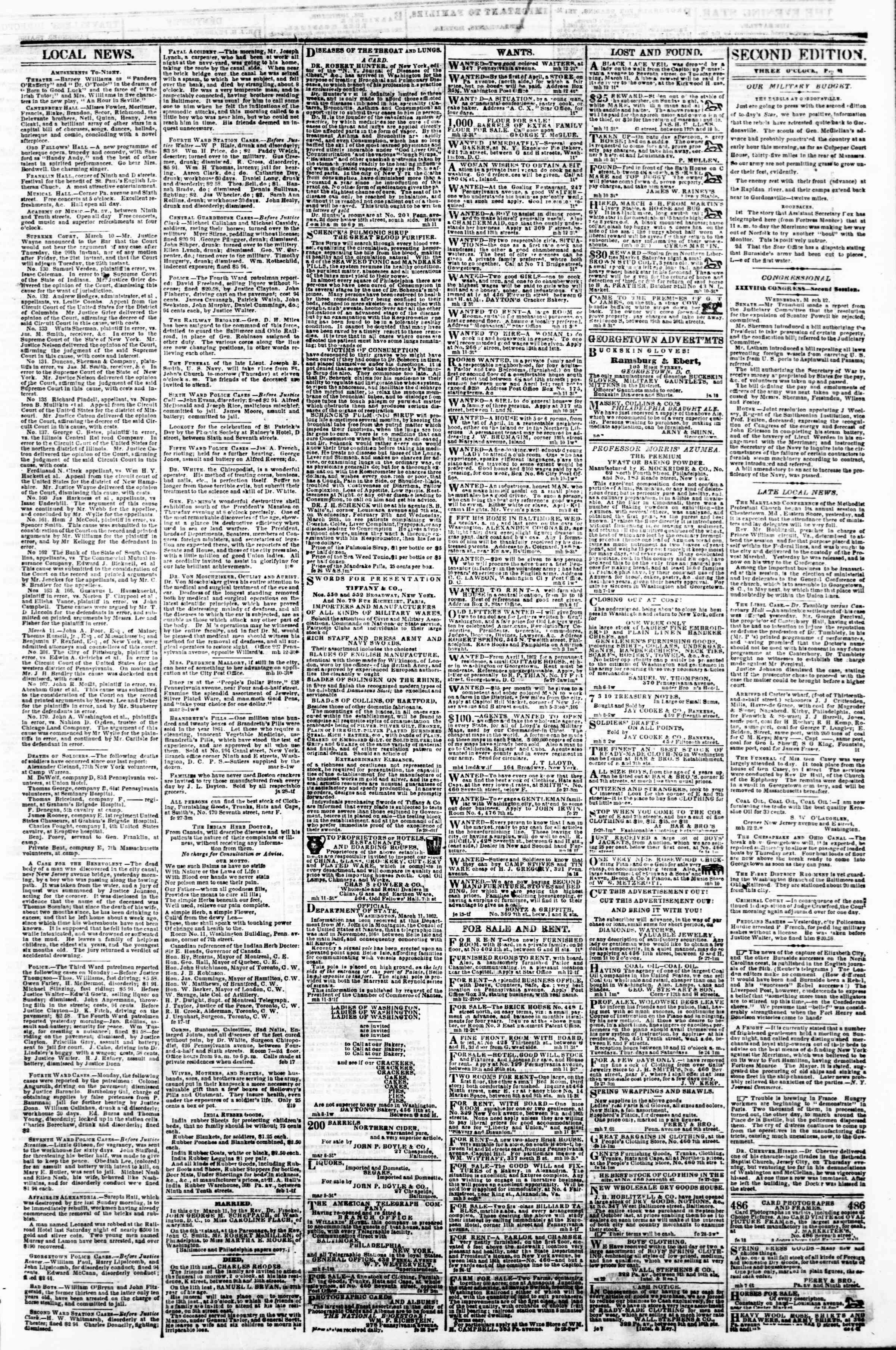 Newspaper of Evening Star dated March 12, 1862 Page 3