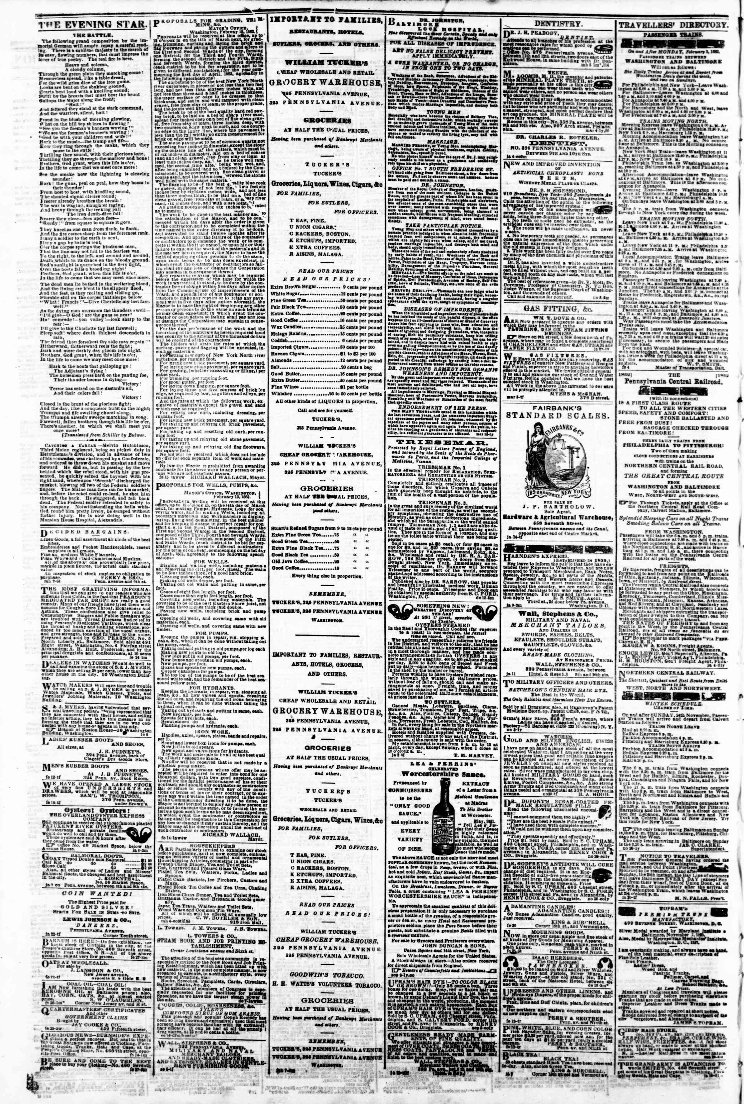 Newspaper of Evening Star dated March 12, 1862 Page 4