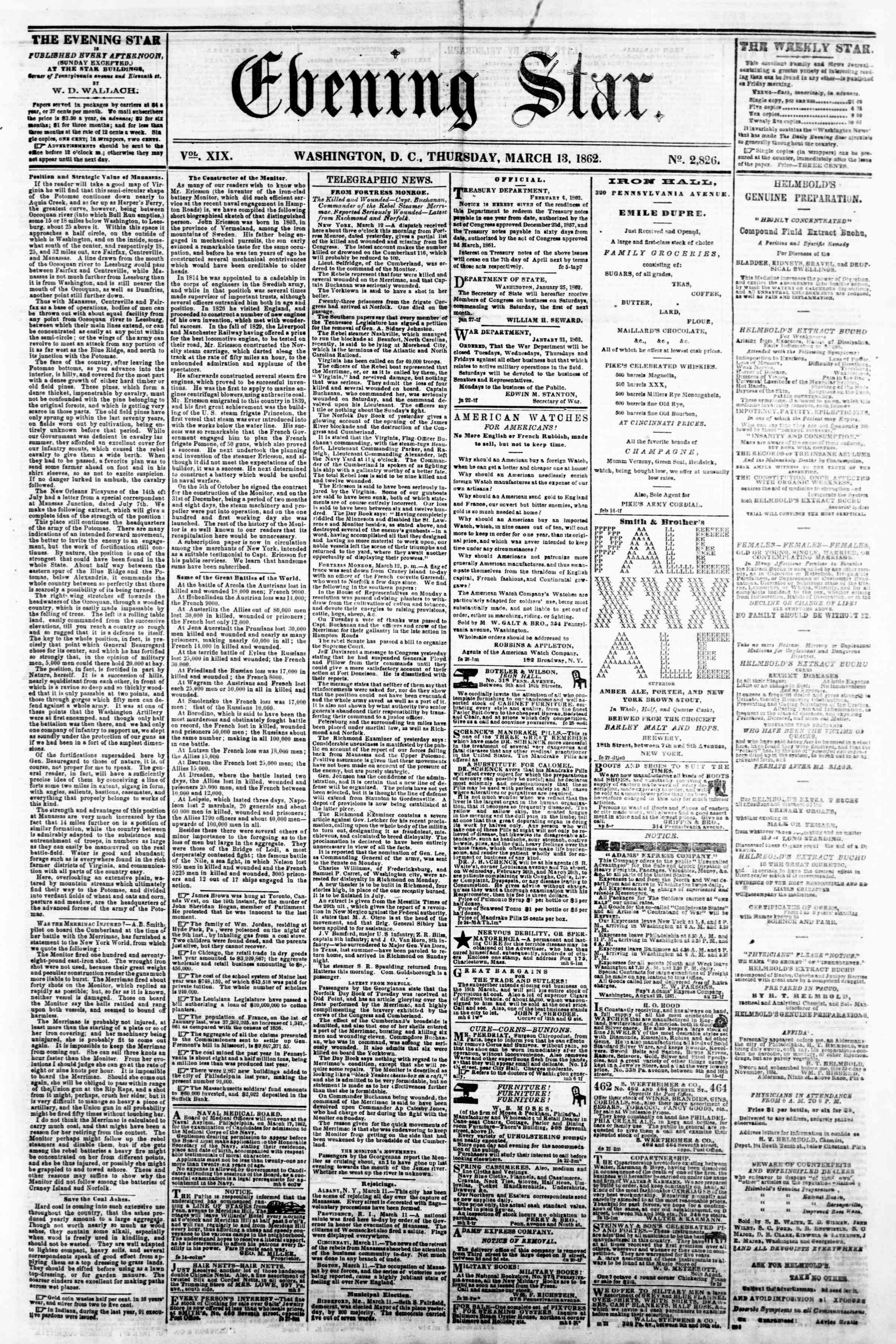 Newspaper of Evening Star dated March 13, 1862 Page 1