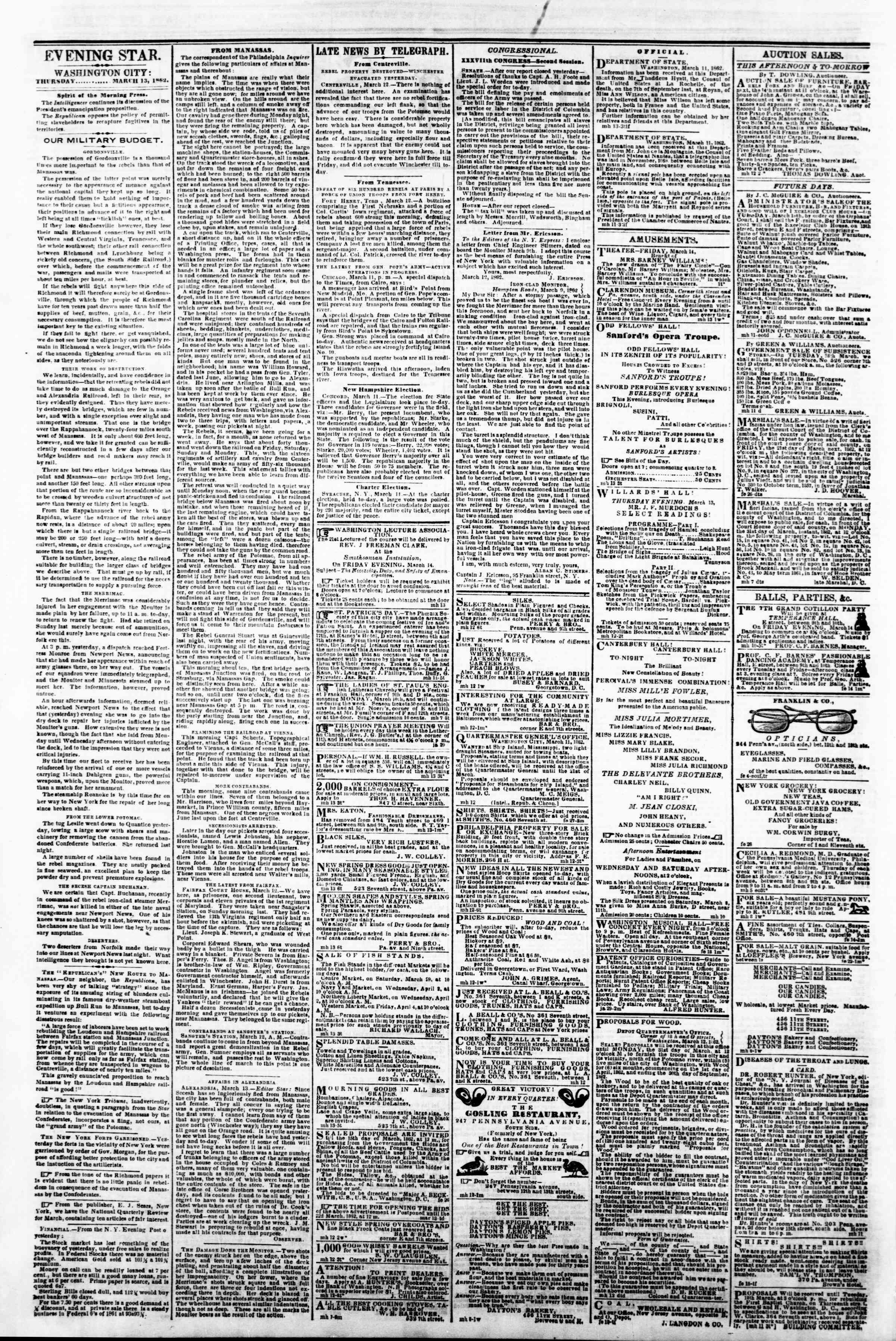 Newspaper of Evening Star dated March 13, 1862 Page 2