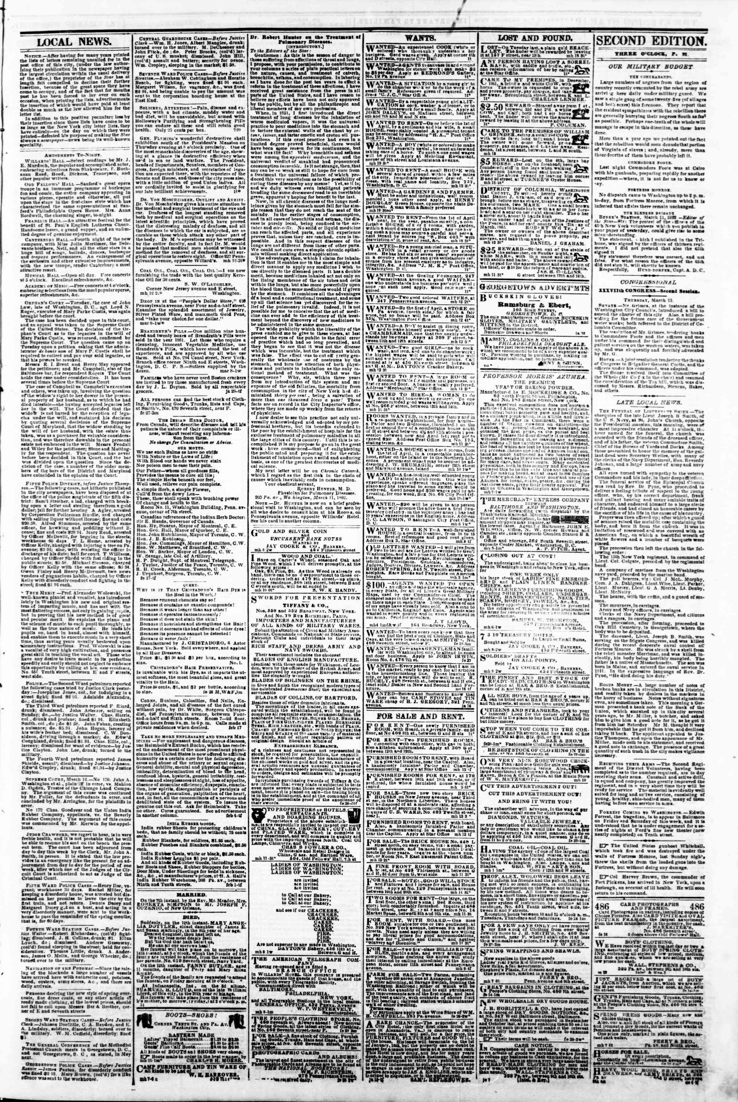 Newspaper of Evening Star dated March 13, 1862 Page 3
