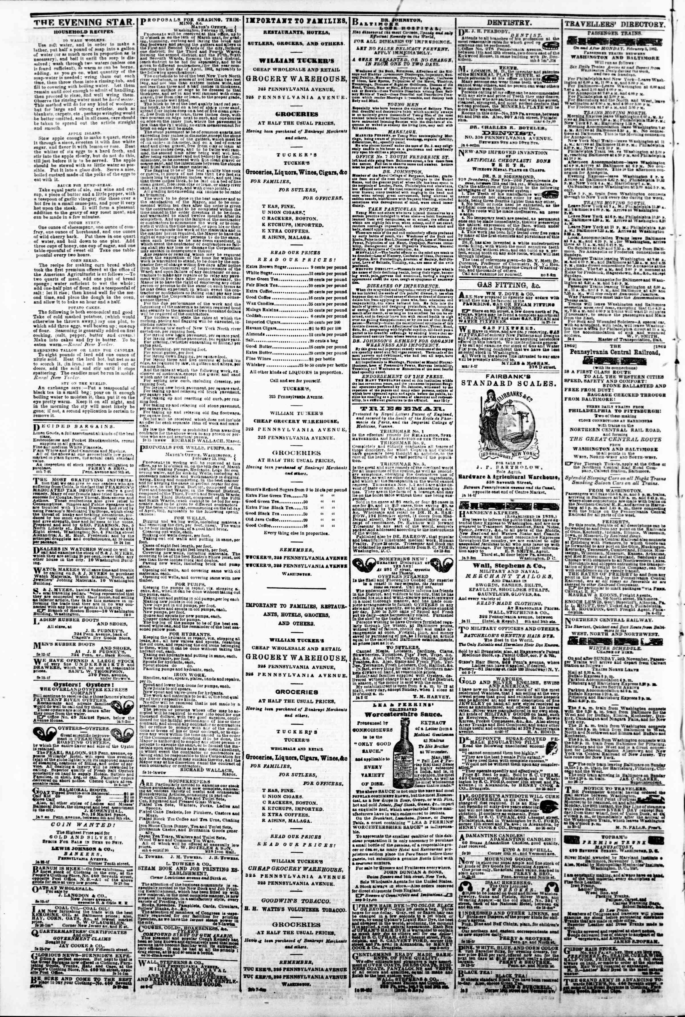 Newspaper of Evening Star dated March 13, 1862 Page 4