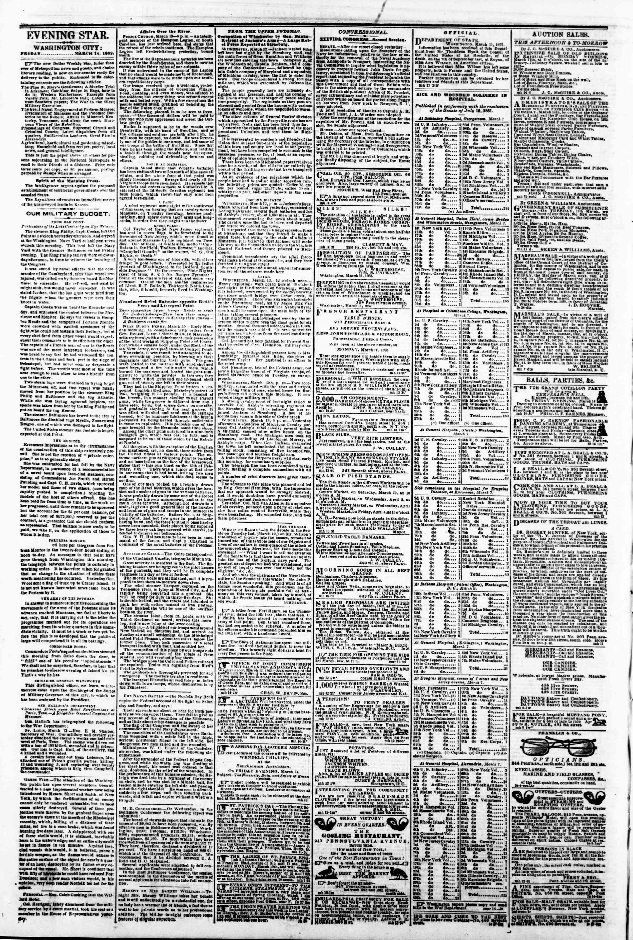 Newspaper of Evening Star dated March 14, 1862 Page 2