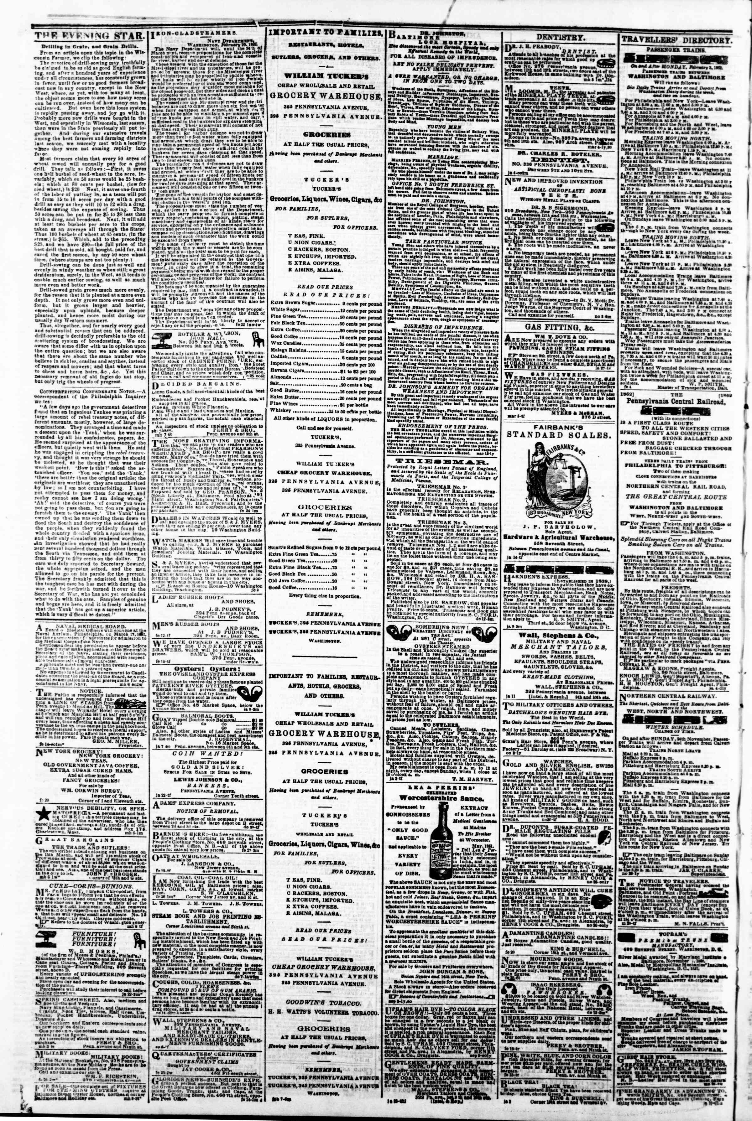 Newspaper of Evening Star dated March 14, 1862 Page 4