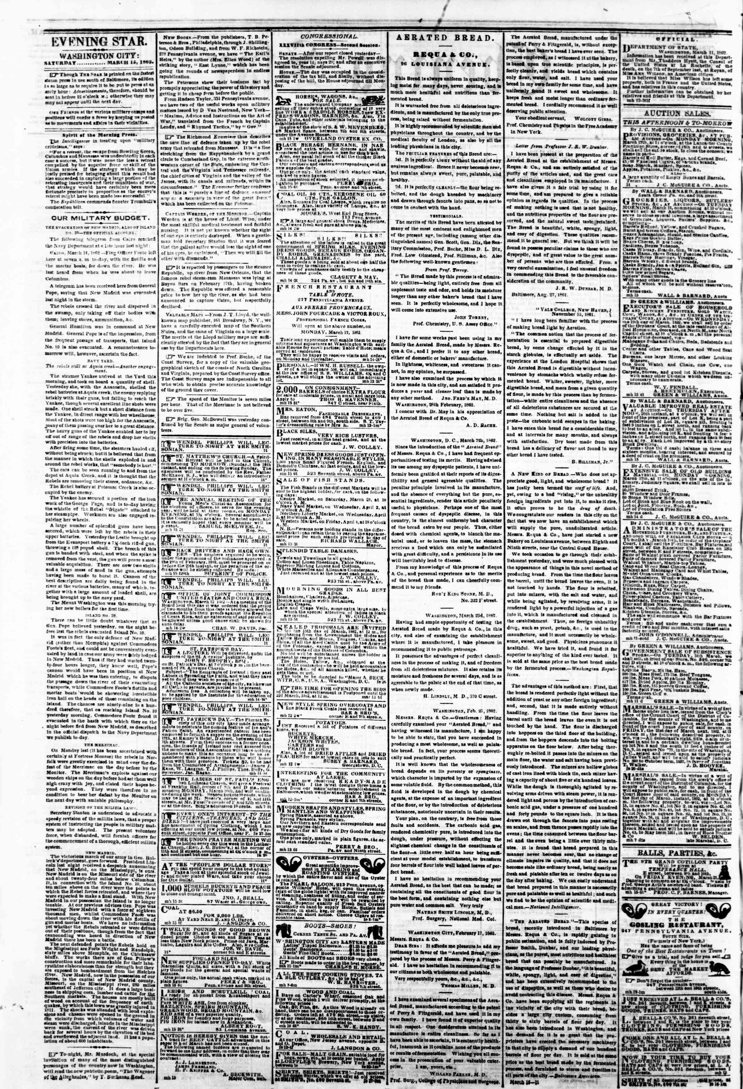 Newspaper of Evening Star dated March 15, 1862 Page 2
